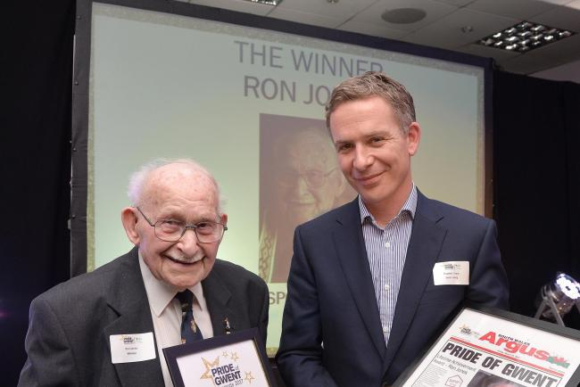 Pride of Gwent lifetime achievement award  winner Ron Jones (L) with Stephen Evans from Seren Living.