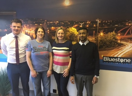 VALUED SUPPORT: Rhian (second from left) with Claire and her team from Bluestone Sales & Lettings