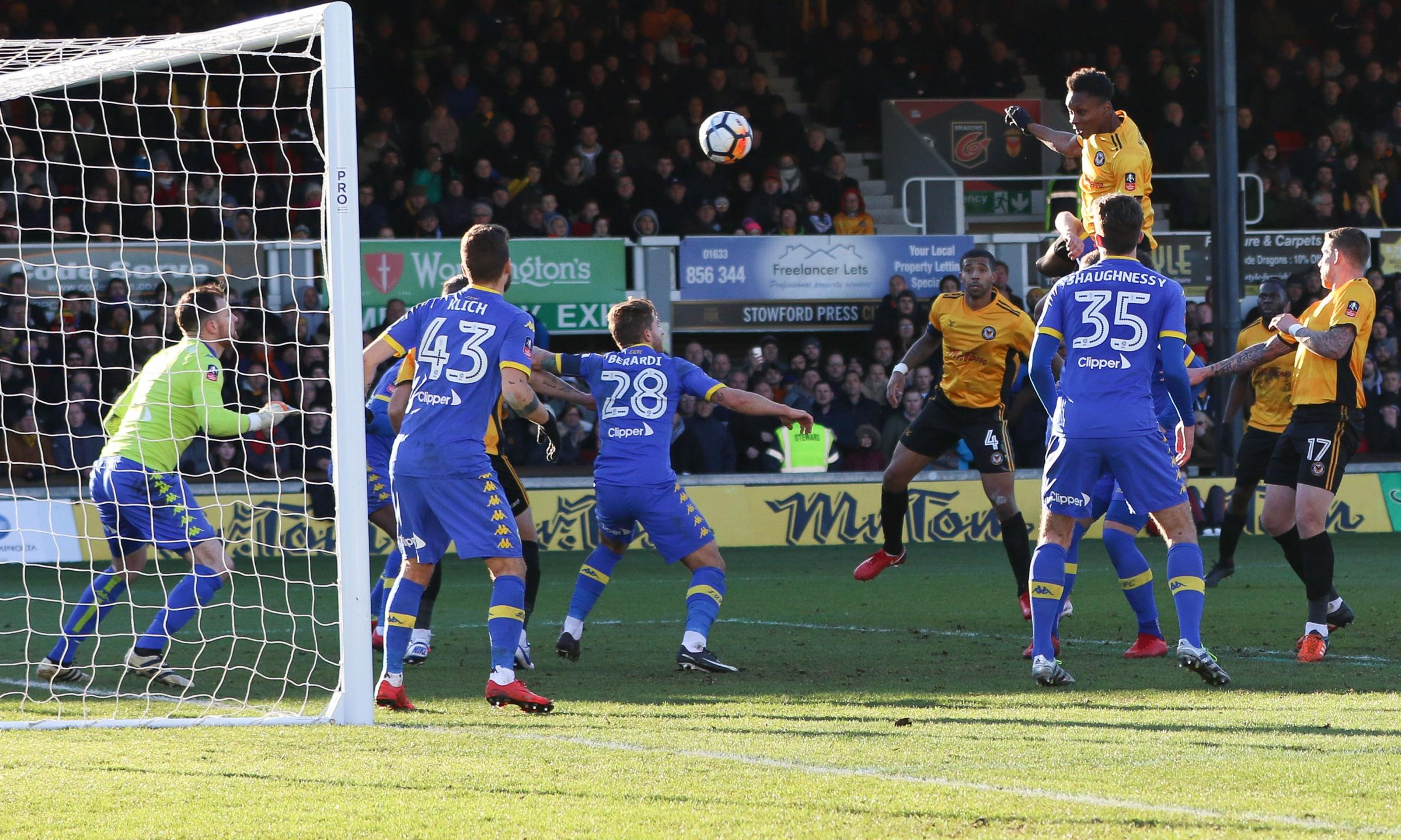 WINNER: Shawn McCoulsky climbed high to head Newport County to victory over Leeds United in January's FA Cup third-round tie. Pictures: Huw Evans Agency
