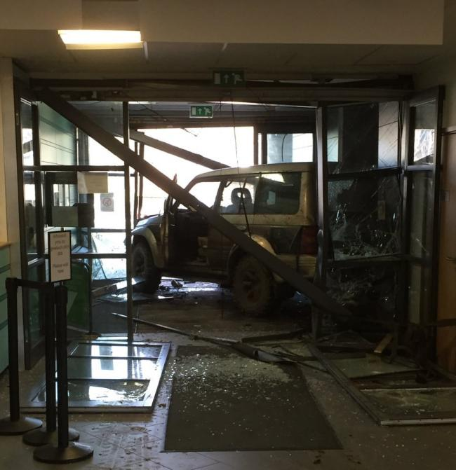 Hospital entrance may not be open for another six weeks after damage from 4x4 crash