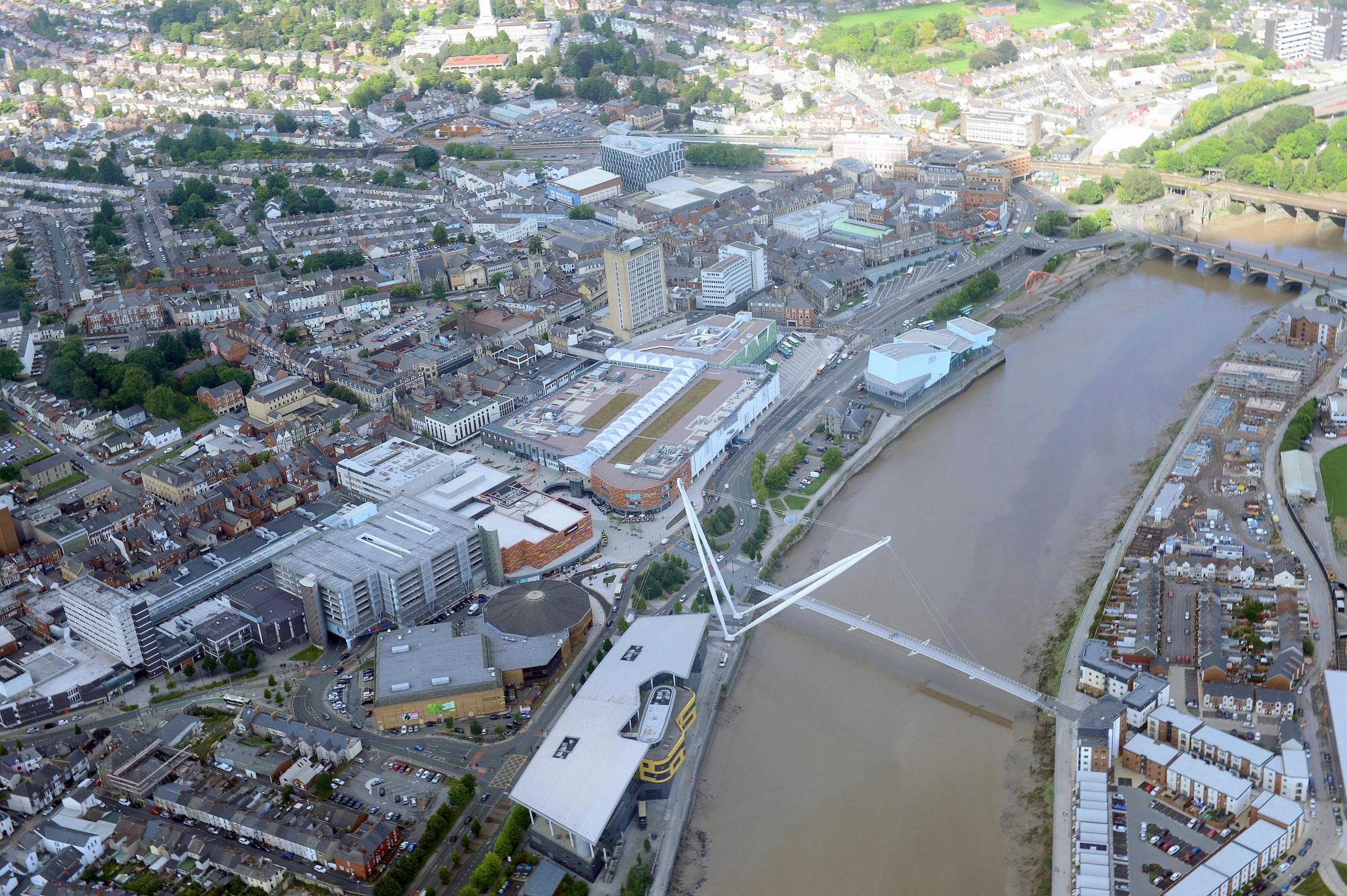 Aerial picture of Newport City centre