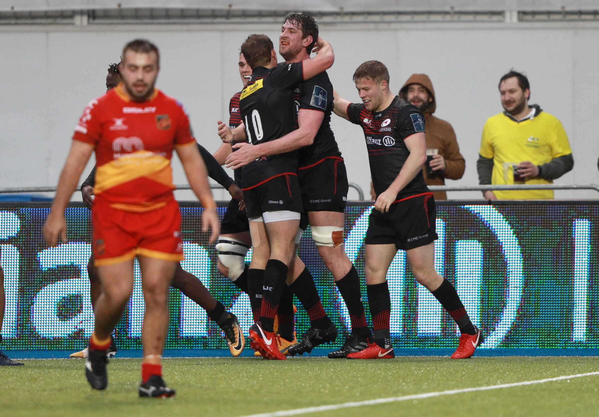 Mark Flanagan of Saracens celebrates scoring a try during the Anglo-Welsh Cup, pool three match at Allianz Park, London.