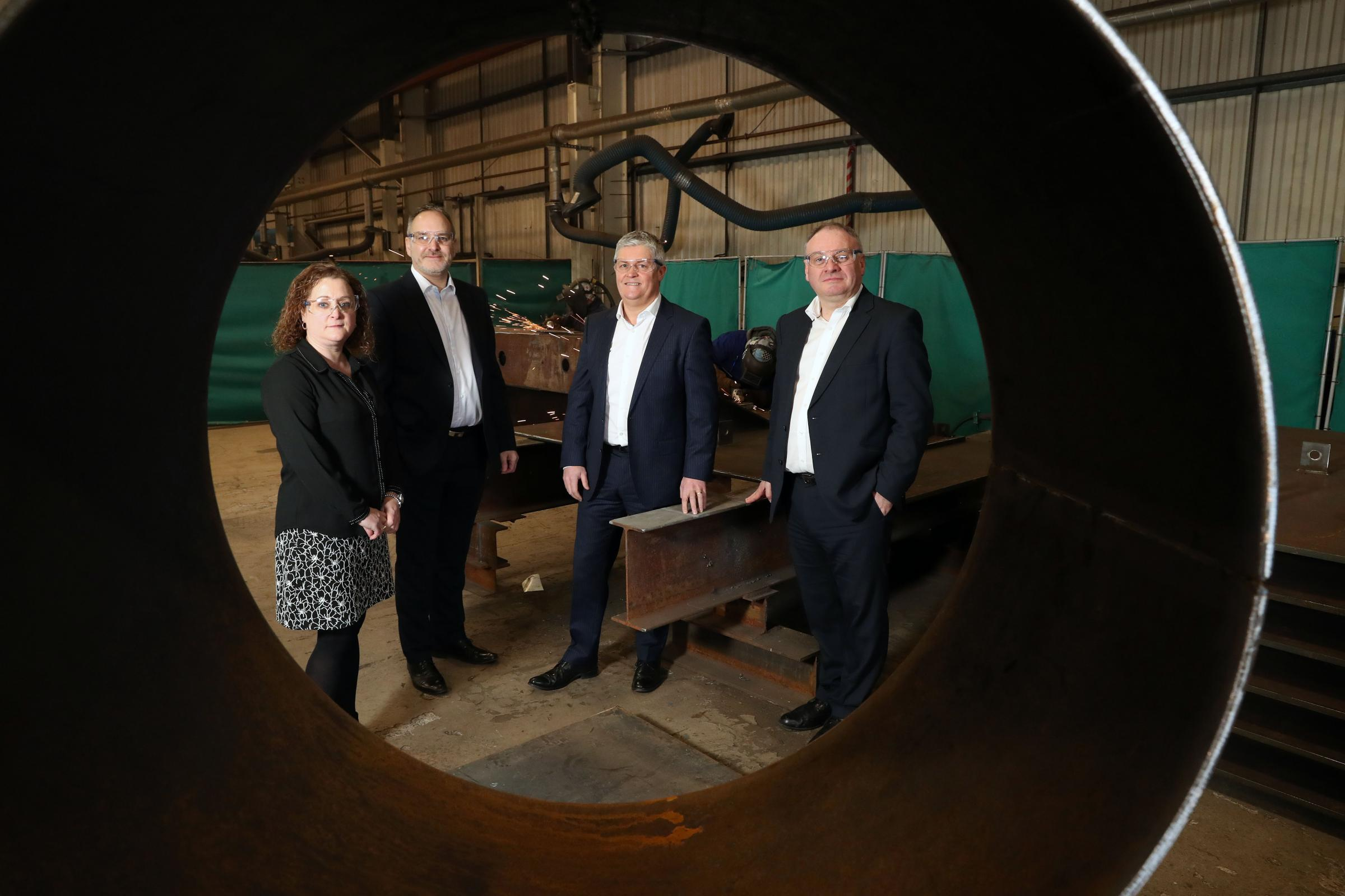 (L-R) Julie Brand, director MII Engineering Ltd, Matthew Moody, finance director MII Engineering Ltd, Brian Arnesen, managing director MII Engineering Ltd and Stephen Galvin, senior investment executive, Development Bank of Wales