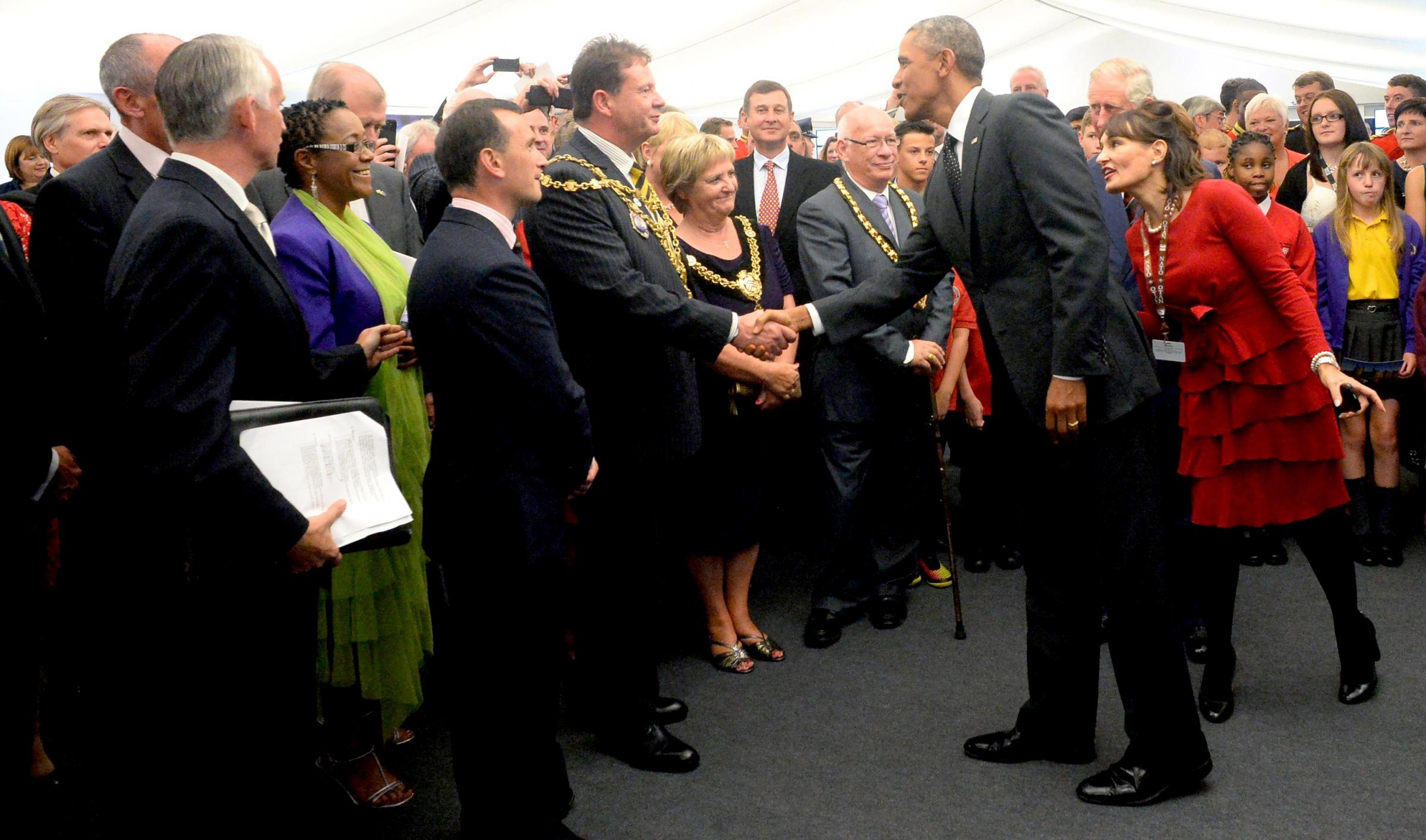 NICE TO SEE YOU – President Barack Obama shakes the hand of Newport Mayor councillor Matthew Evans
