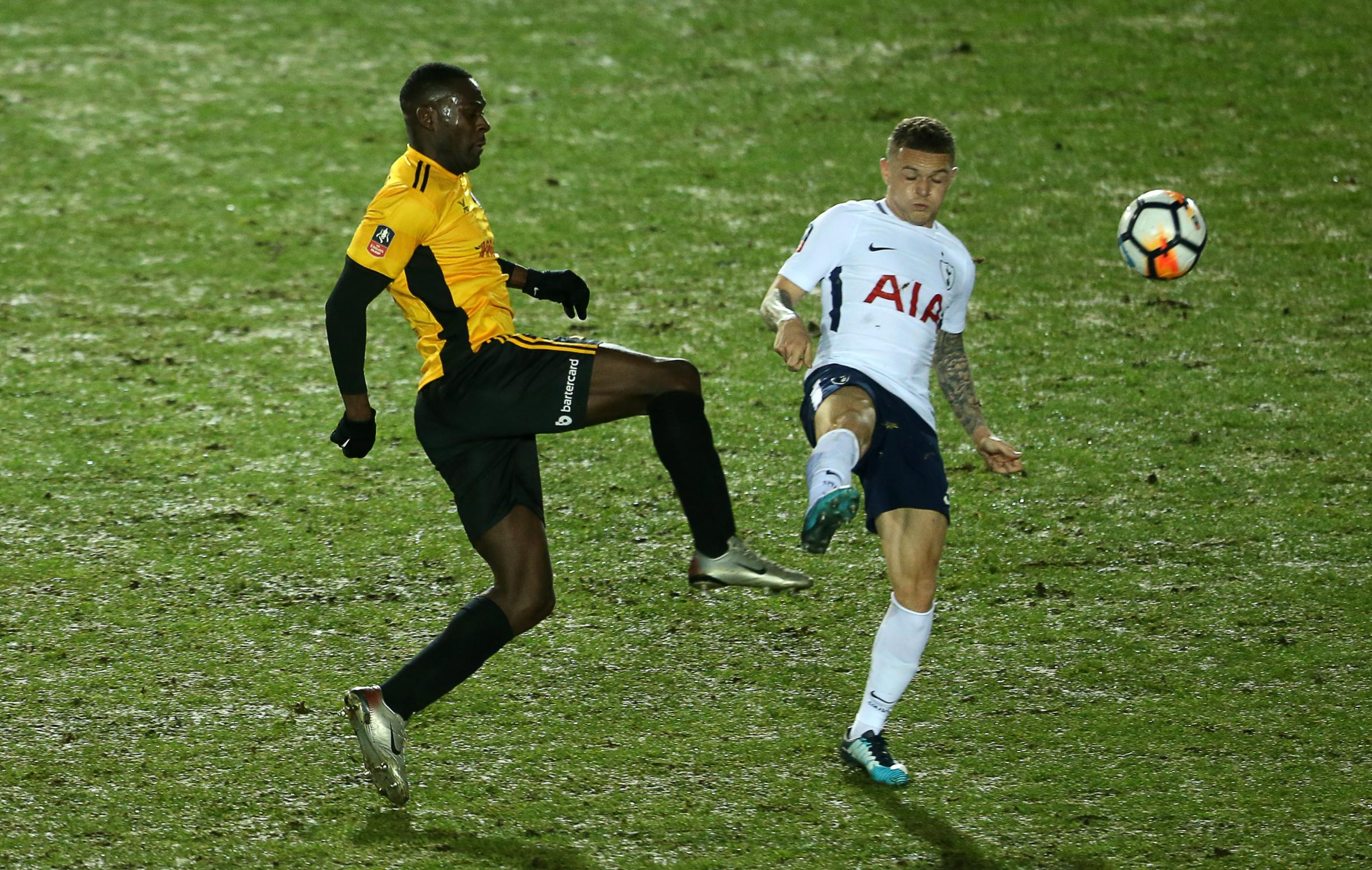 LEAGUE FOCUS: Frank Nouble is challenged by Kieran Trippier in the 1-1 draw with Spurs last Saturday