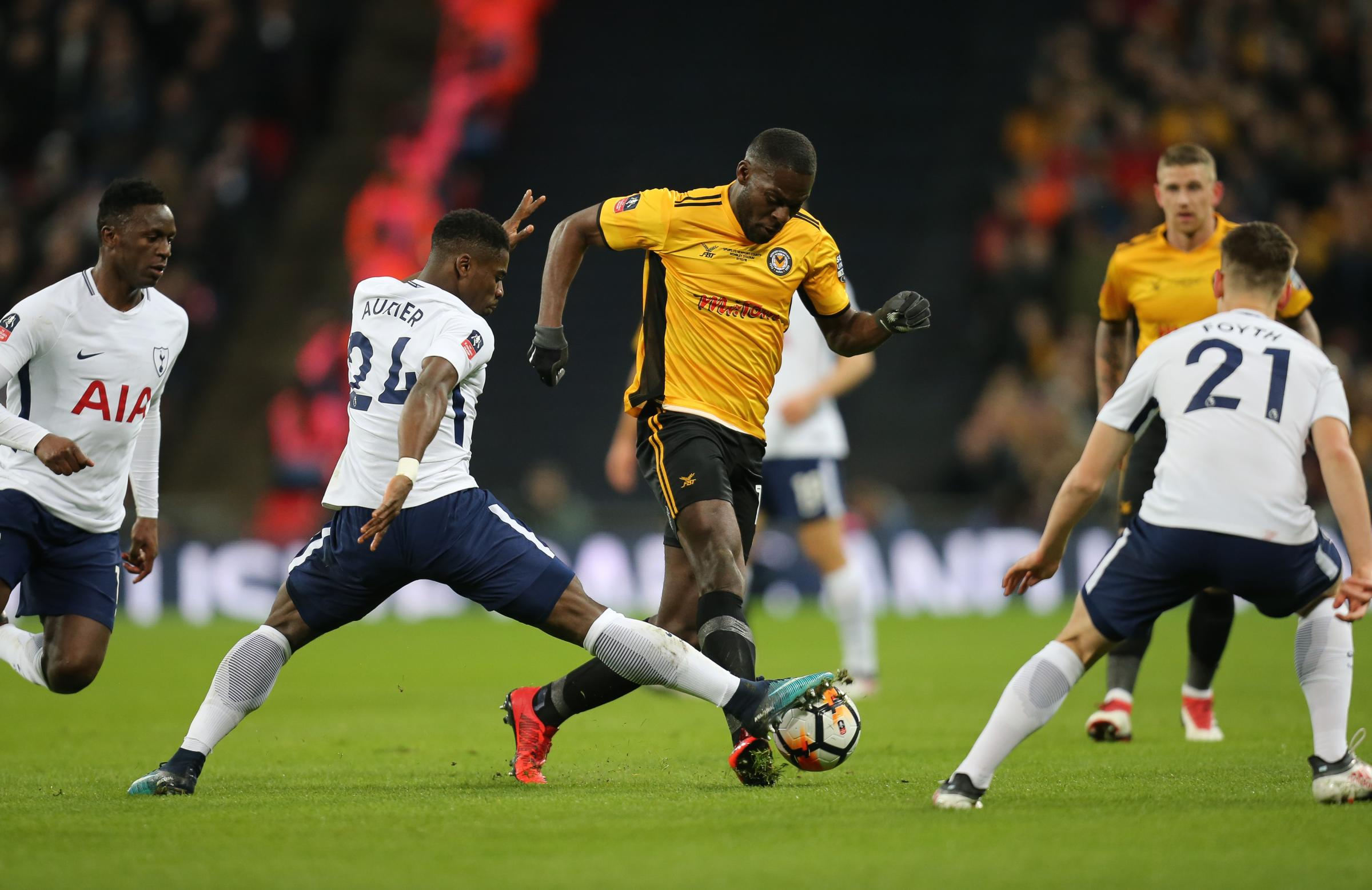 STAR MAN: Newport County forward Frank Nouble took the fight to Tottenham Hotspur at Wembley. Pictures: Huw Evans Agency