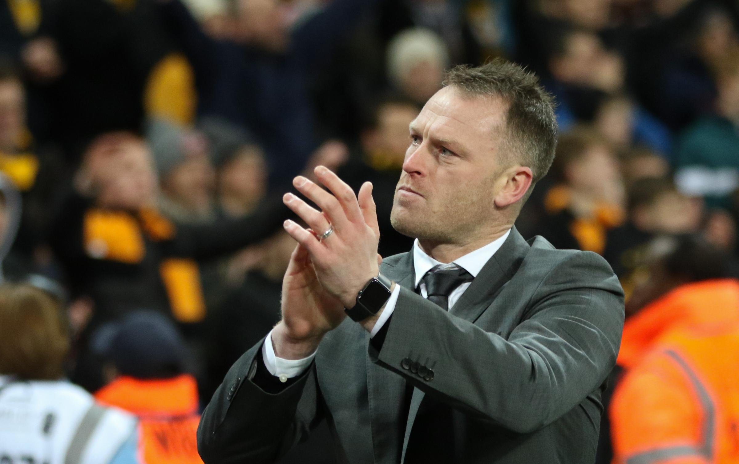 PRIDE: Newport County manager Michael Flynn thanks the travelling fans at Wembley. Pictures: Huw Evans Agency