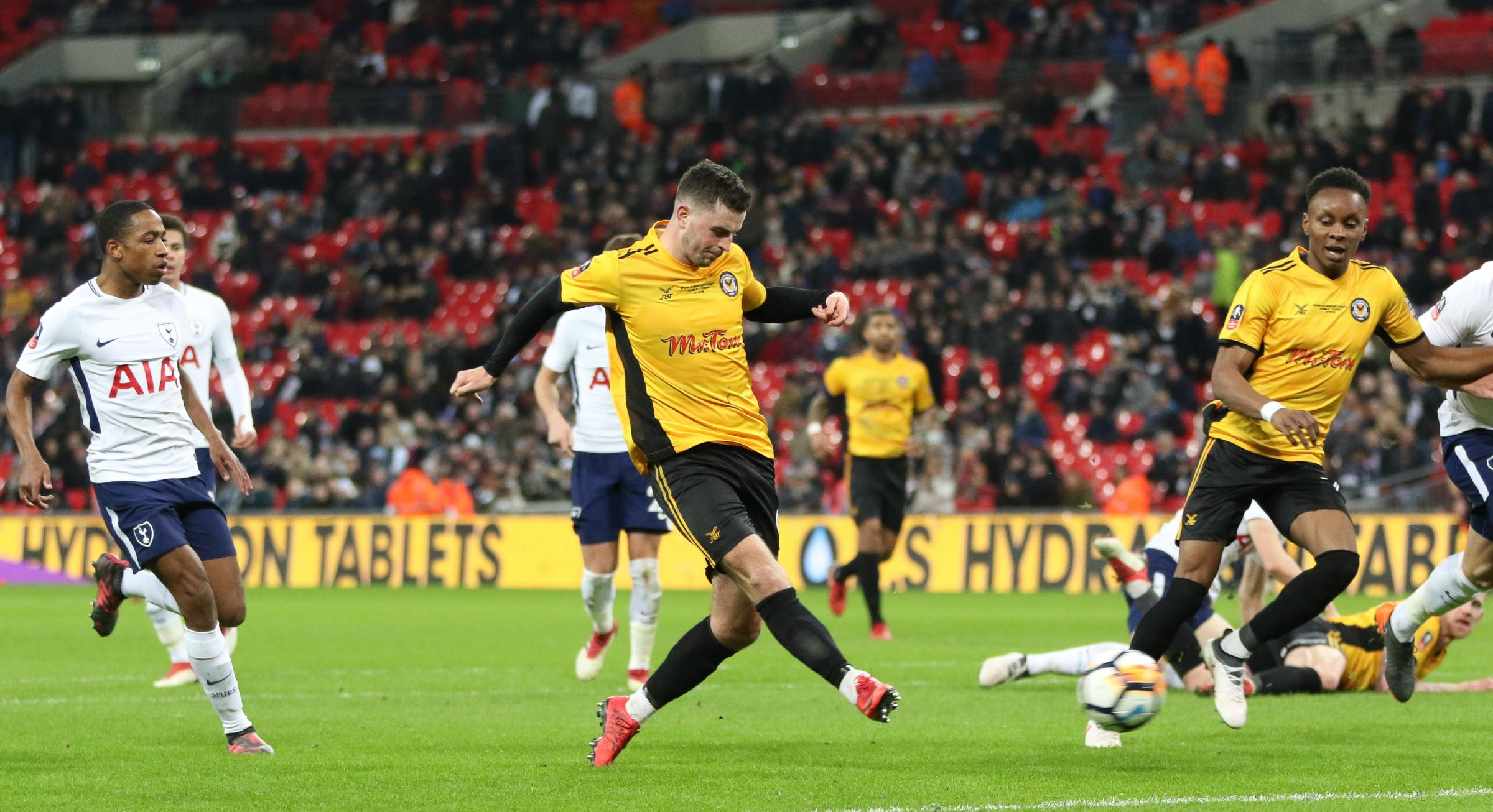 THE ONE THAT GOT AWAY: Padraig Amond shoots for goal at the end of County's 2-0 defeta to Spurs at Wembley. Picture: Huw Evans Agency