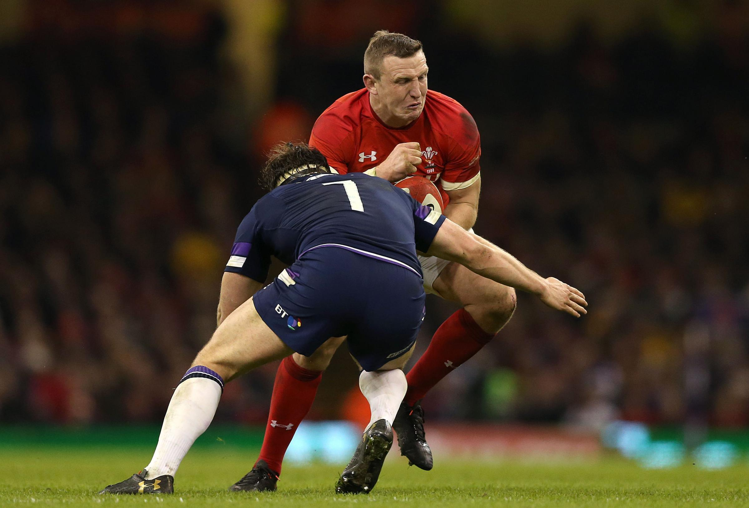 Wales' Hadleigh Parkes (right) in action with Scotland's Hamish Watson during the NatWest 6 Nations match at the Principality Stadium, Cardiff. PRESS ASSOCIATION Photo. Picture date: Saturday February 3, 2018. See PA story RUGBYU Wales. Photo cred