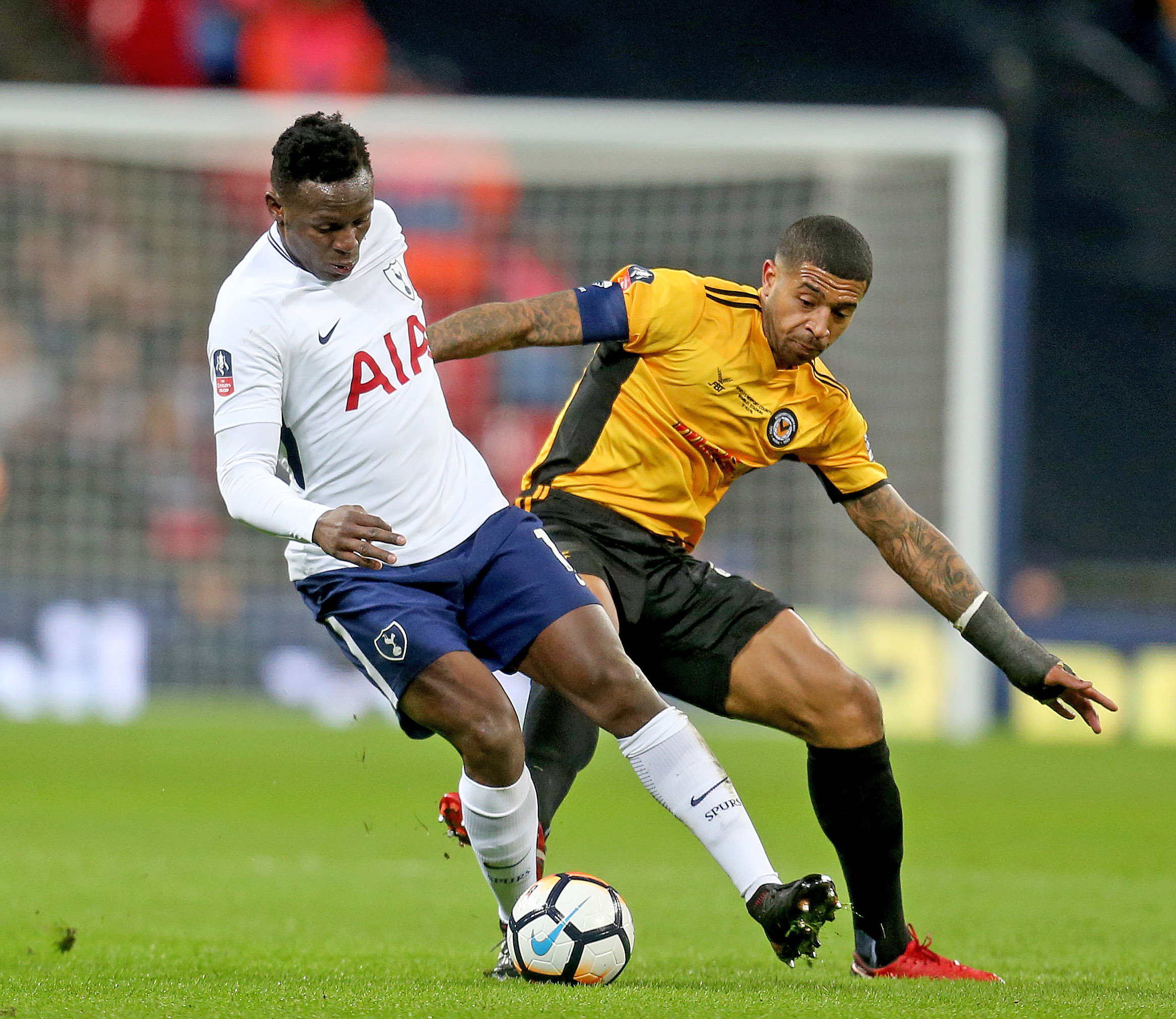 REFOCUS: Joss Labadie challenges Victor Wanyama for the ball at Wembley. Picture: Huw Evans Agency
