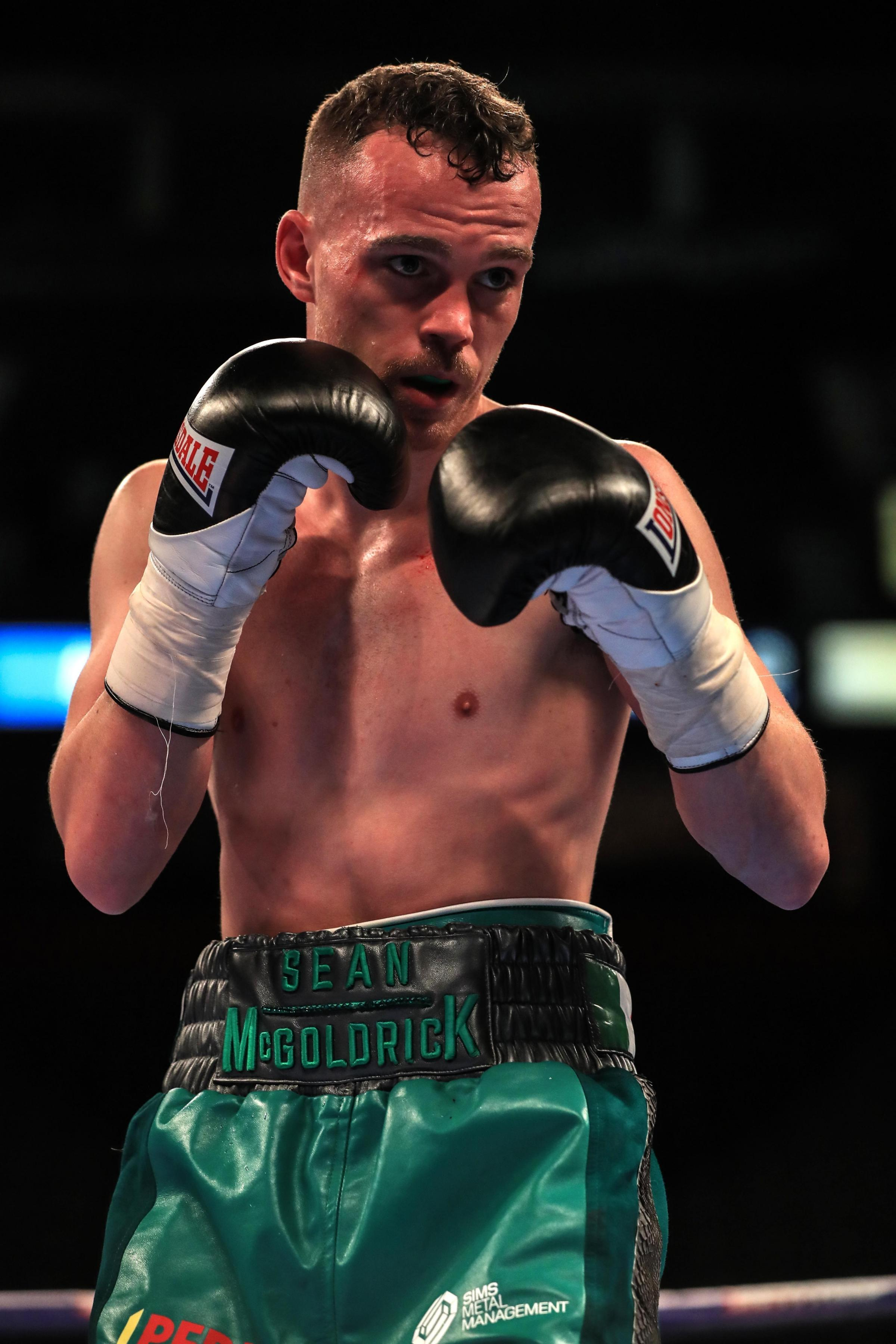 Sean McGoldrick in the Bantamweight contest against Brett Fidge at Manchester Arena. PRESS ASSOCIATION Photo. Picture date: Saturday March 25, 2017. See PA story BOXING Manchester. Photo credit should read: Peter Byrne/PA Wire.