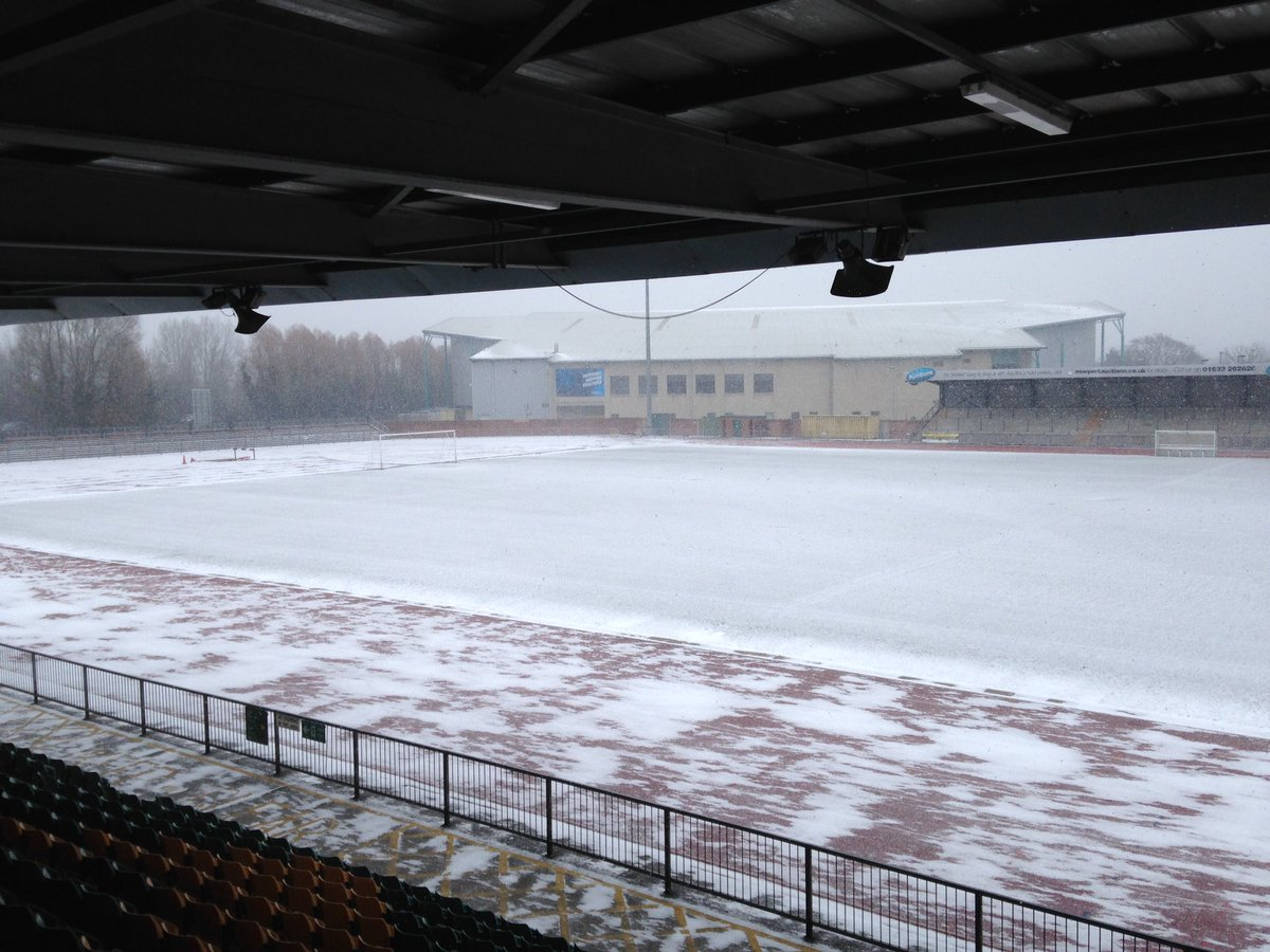 WHITEOUT: Snow covered the Newport County training pitch at Spytty Park this morning