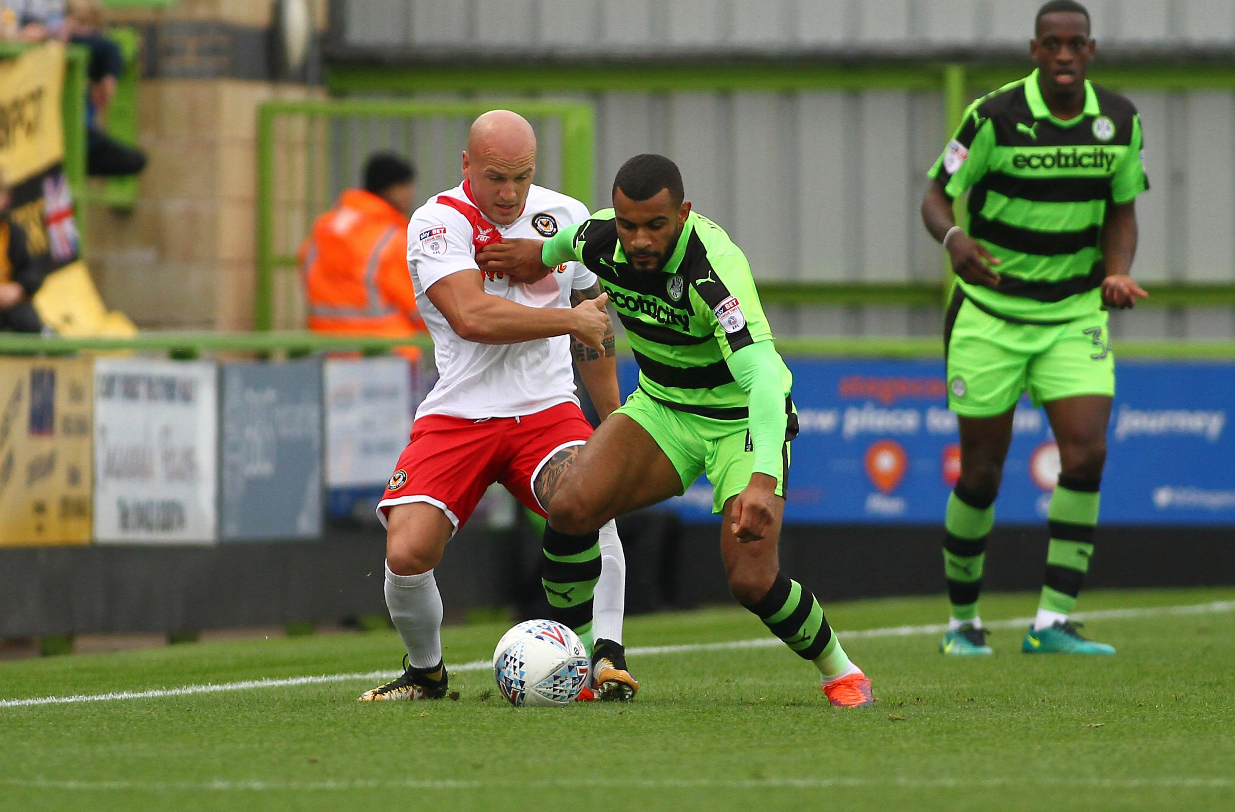 BATTLE: Newport County defender David Pipe in action against his former club Forest Green Rovers earlier this season. Picture: Huw Evans Agency