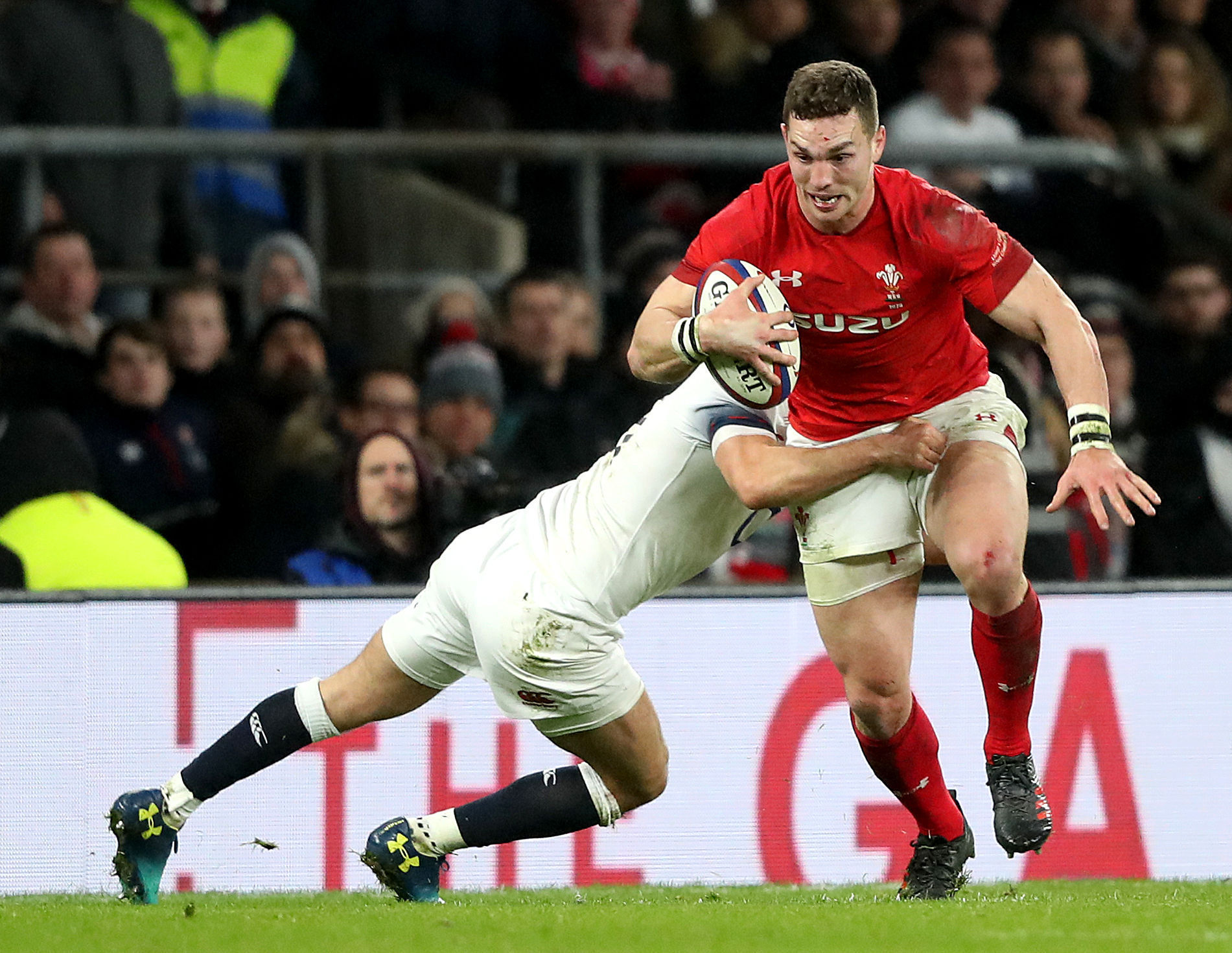 Wales' George North in action during the NatWest 6 Nations match at Twickenham Stadium, London. PRESS ASSOCIATION Photo. Picture date: Saturday February 10, 2018. See PA story RUGBYU England. Photo credit should read: Adam Davy/PA Wire. RESTRICTIONS: