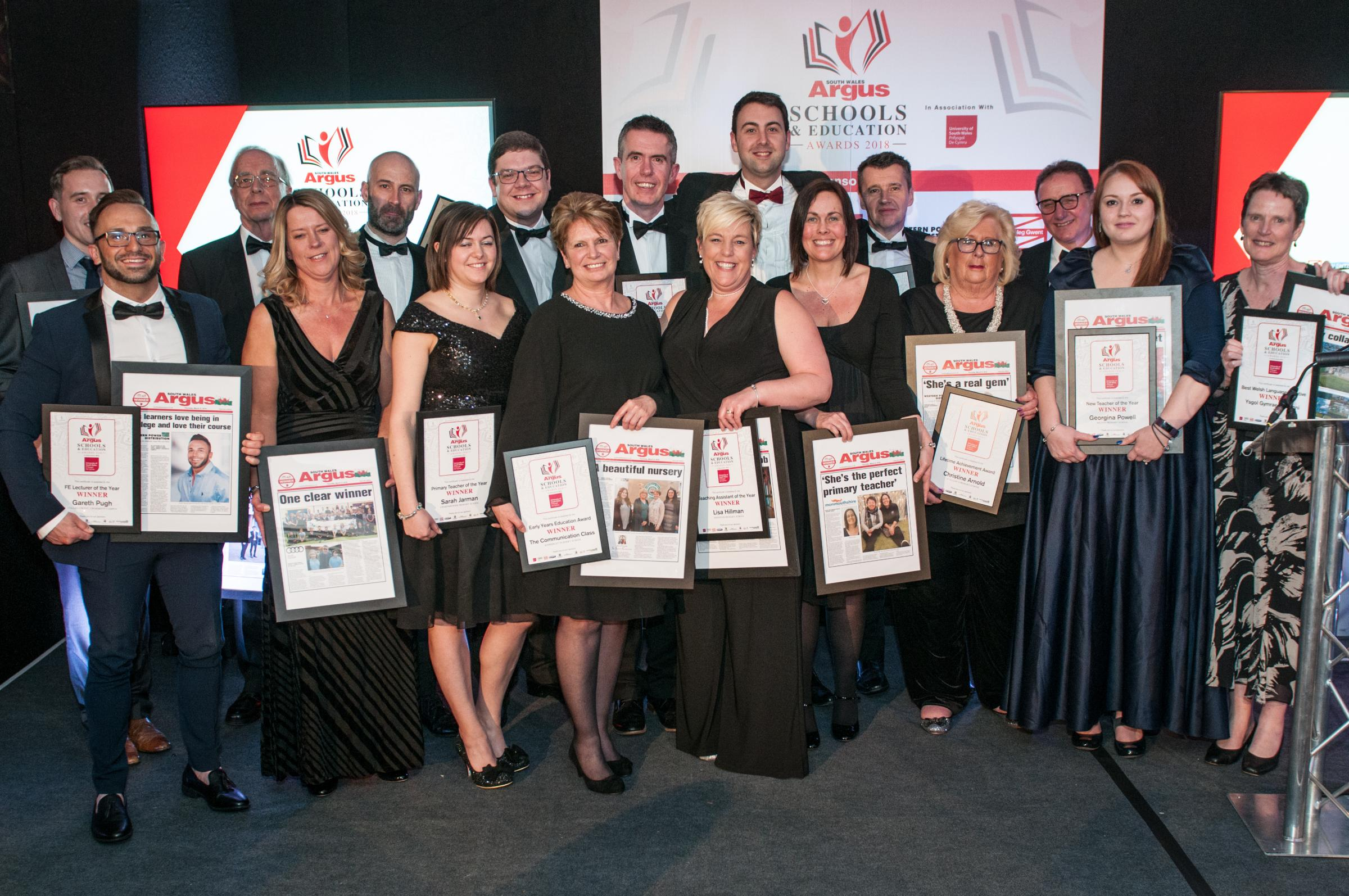 Winners of the South Wales Argus Schools and Education Awards 2018