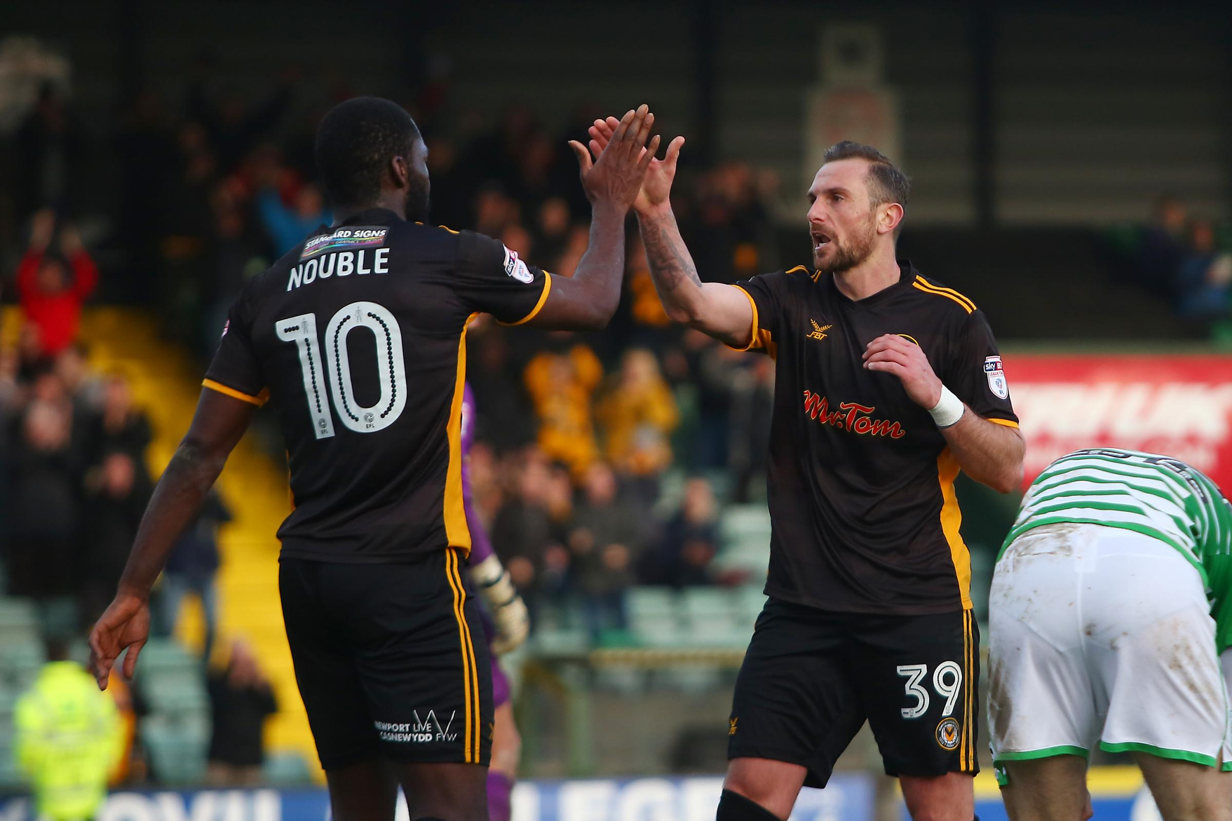 IN-FORM: Paul Hayes, right, celebrates his goal at Yeovil with Frank Nouble. Picture: Huw Evans Agency