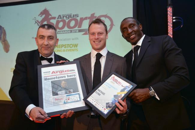 WINNER: Newport County manager Michael Flynn, centre, with Phil Bell of Chepstow Racecourse and Olympic legend Linford Christie at the South Wales Argus Sports Awards. Picture: www.christinsleyphotography.co.uk