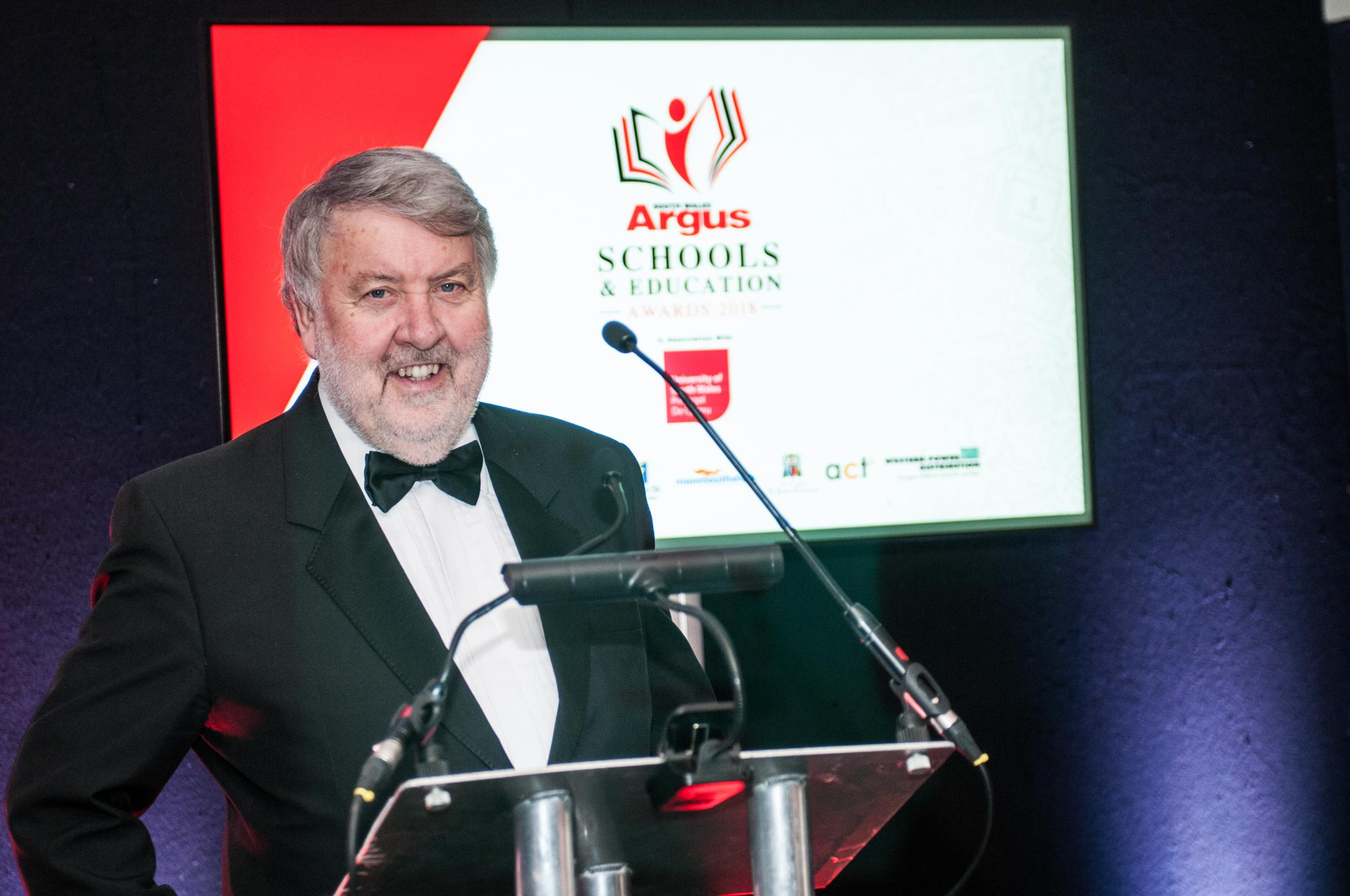 Guest speaker Roy Noble at the South Wales Argus Schools and Education Awards 2018.