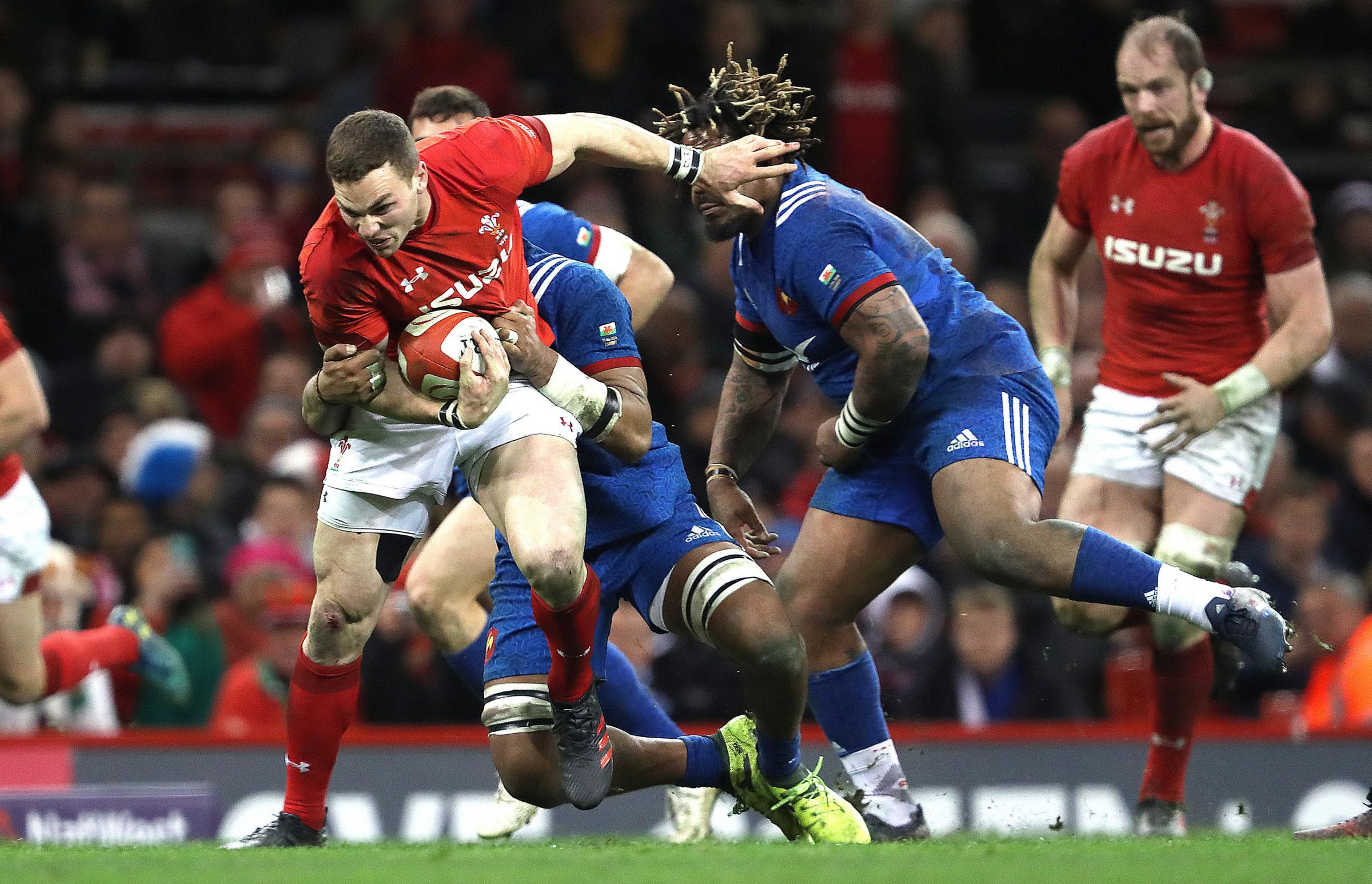 France's Mathieu Bastareaud (right) tackles Wales' George North (left) during the NatWest 6 Nations match at the Principality Stadium, Cardiff. PRESS ASSOCIATION Photo. Picture date: Saturday March 17, 2018. See PA story RUGBYU Wales