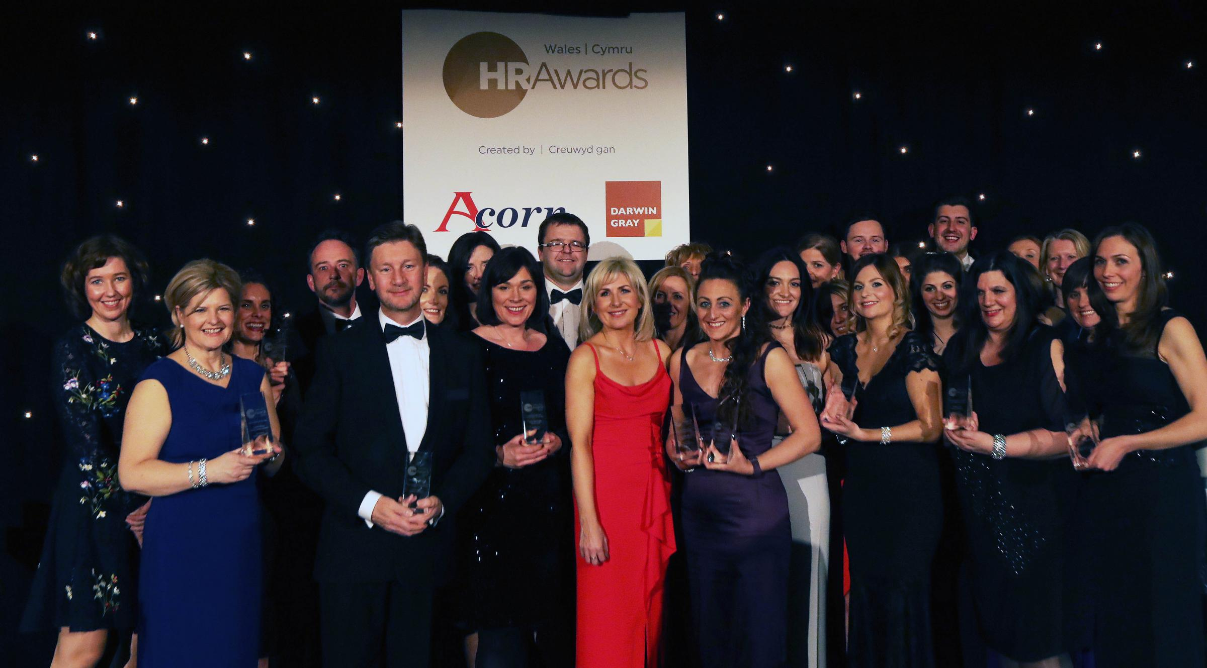 Wales HR Awards 2018 winners with host Sian Lloyd