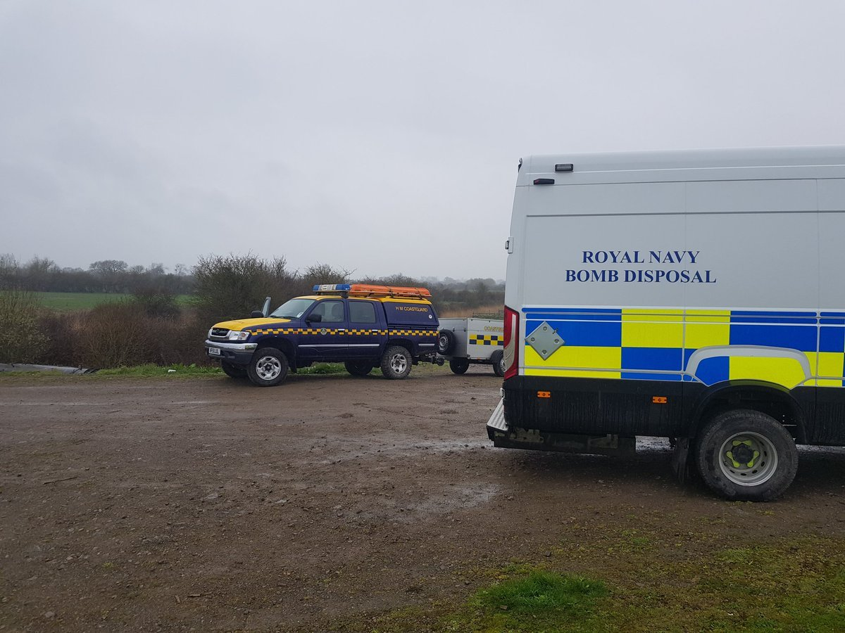 The Royal Navy bomb disposal team seen near Redwick. Picture:  Chepstow Coastguard Rescue Team