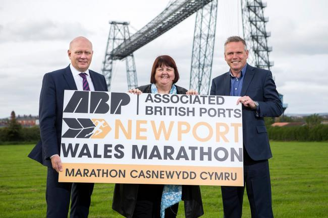 MARATHON: Matthew Kennerly, ABP regional director, Leader of Newport City Council Debbie Wilcox and Run 4 Wales Chief Executive Matt Newman