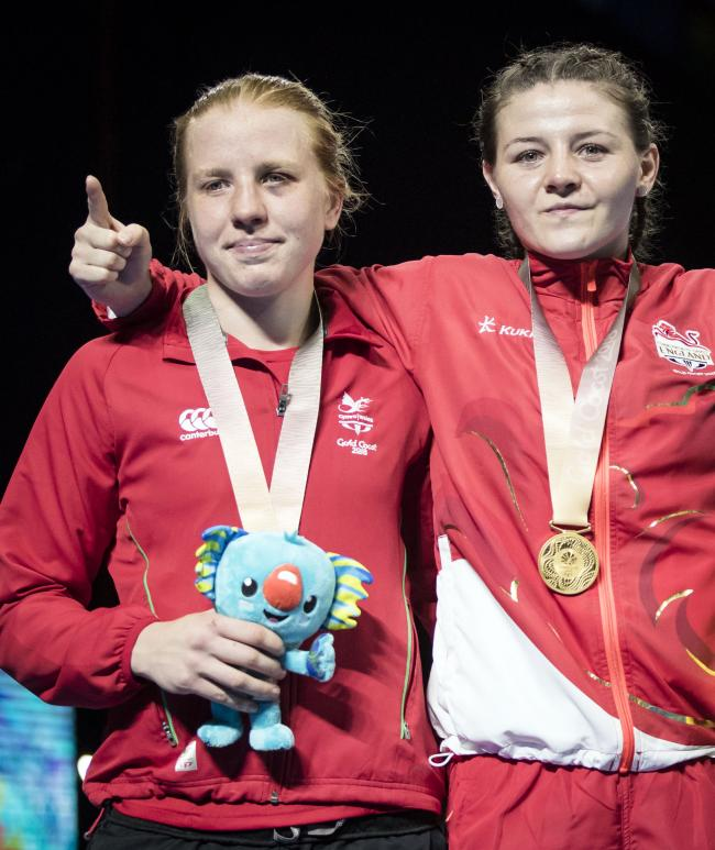 GOING FOR GOLD: Rosie Eccles, left, competes alongside Sandy Ryan, right, who is her rival for an Olympic place