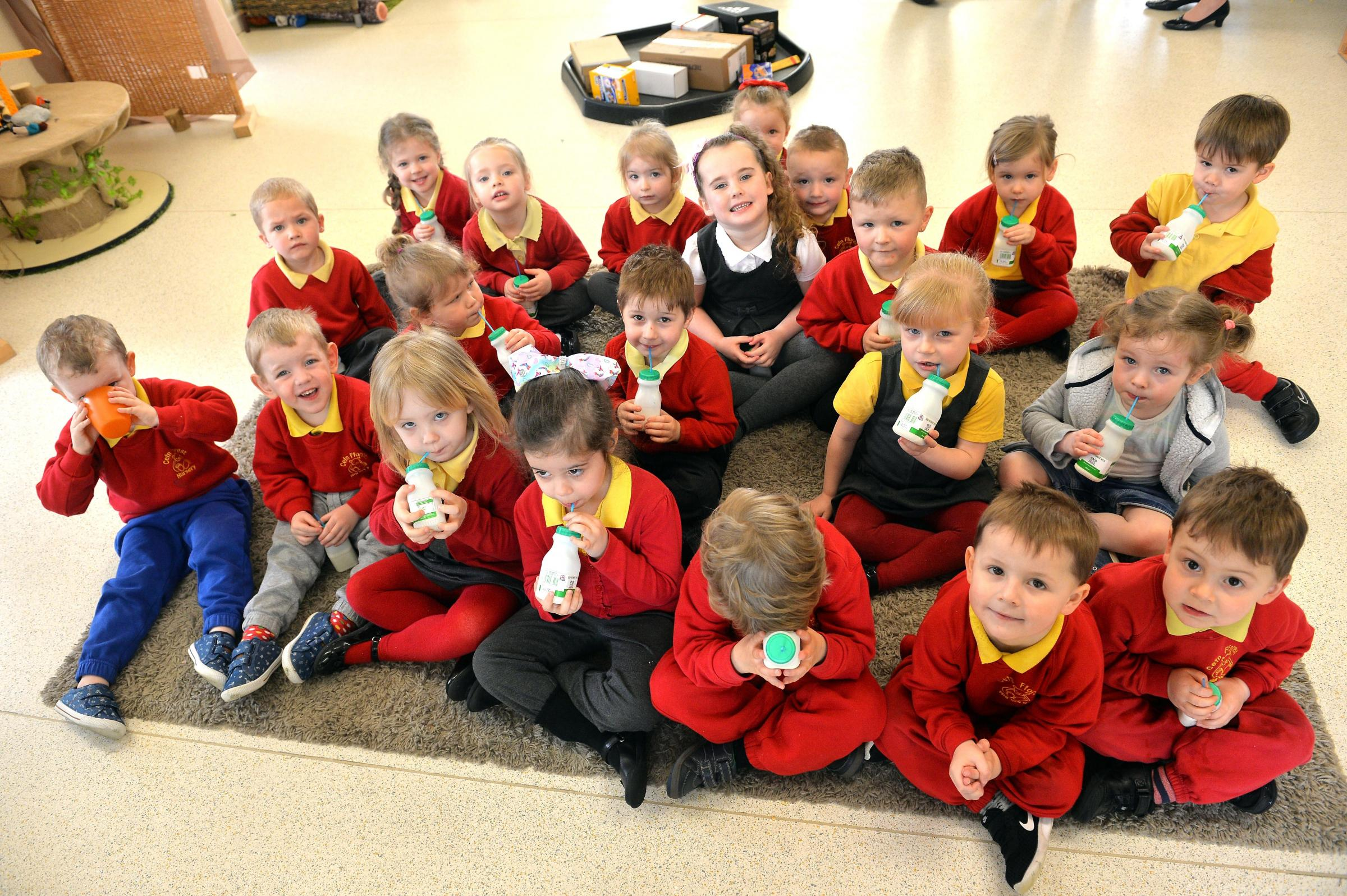 Cefn Fforest Primary school of the week. Nursery class milk time. www.christinsleyphotography.co.uk