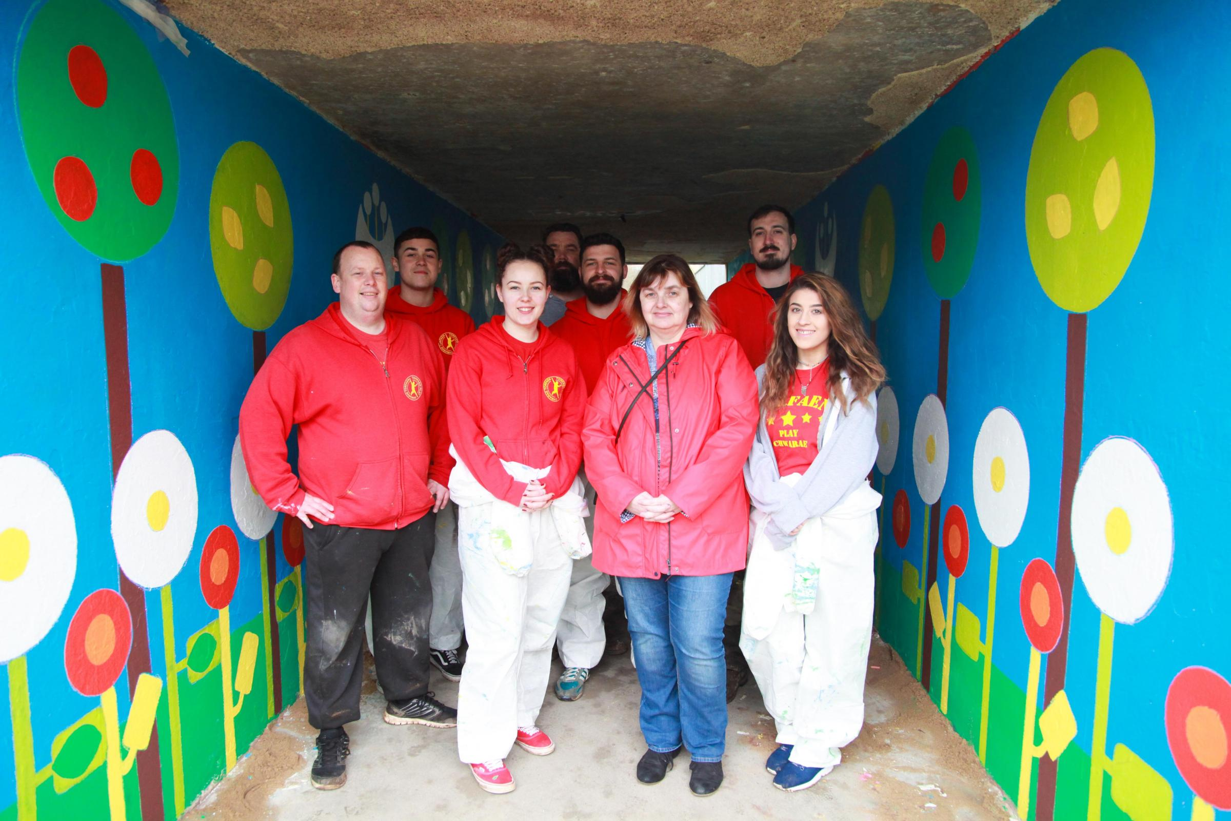 Play workers transform subways in Cwmbran