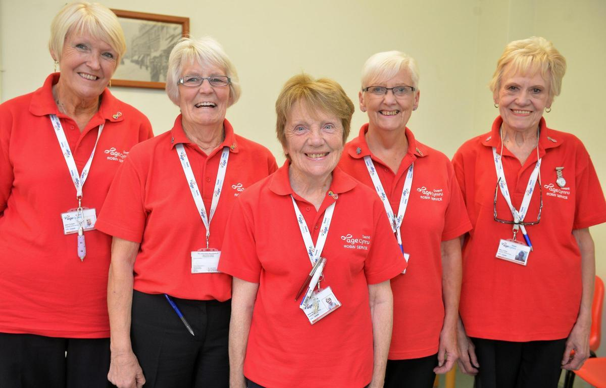 ROBINS: Some of the service's volunteers pictured at the time of its nomination for a South Wales Argus Health and Care Award last autumn.From left, Jean Cooper, Sue Bullock, Vera Jones, Rachelle Bishop and Mary Culley. Photo - christinsleyphotography
