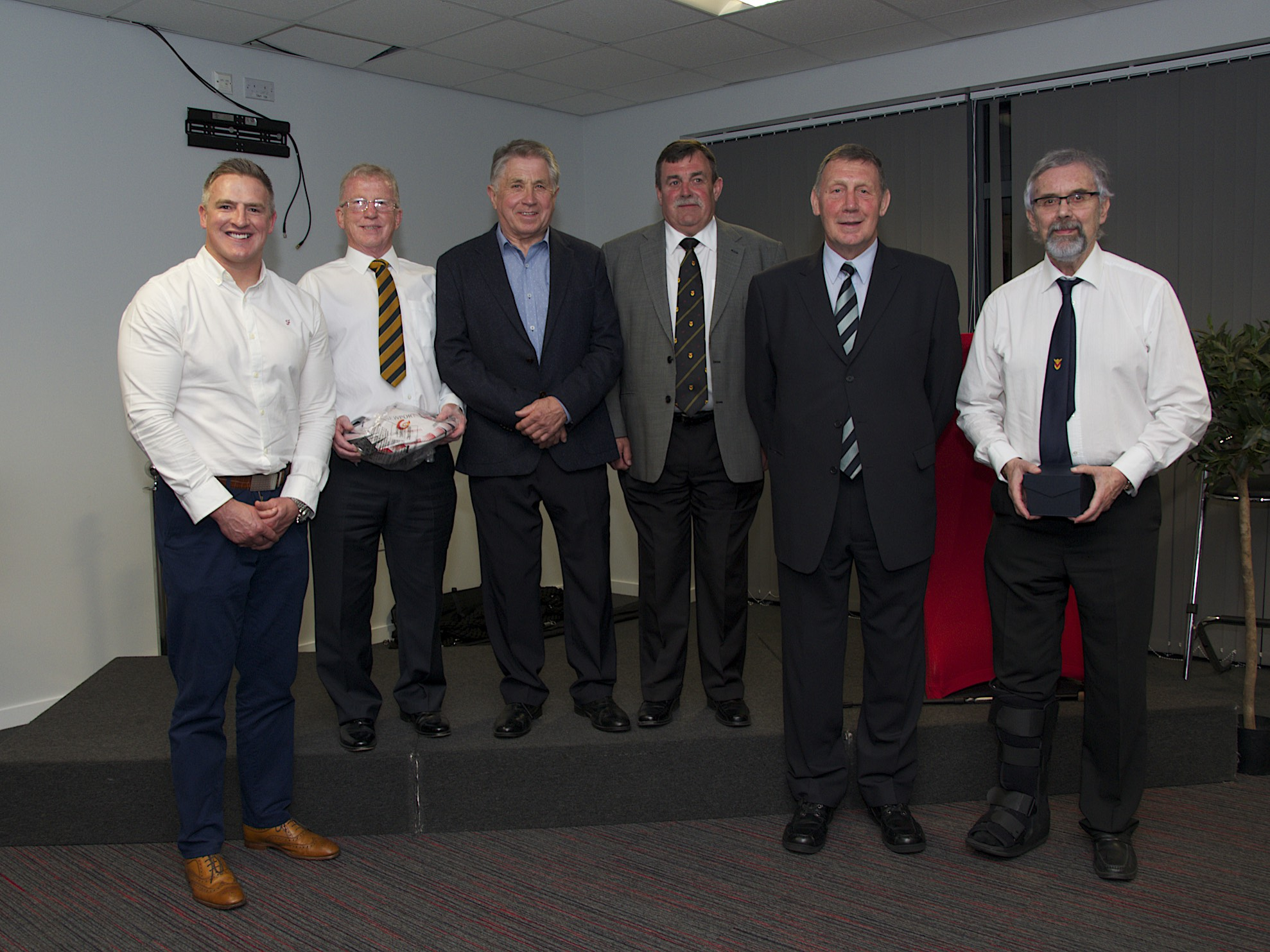CLUB GREATS: Matthew J Watkins, Allan Evans, David Rogers, Keith James, John Jeffrey and Evan Davidge, nephew of Glynn, at Newport's seventh hall of fame evening. Doug Ackermann was also inducted. (Picture: Ron Sutcliffe)