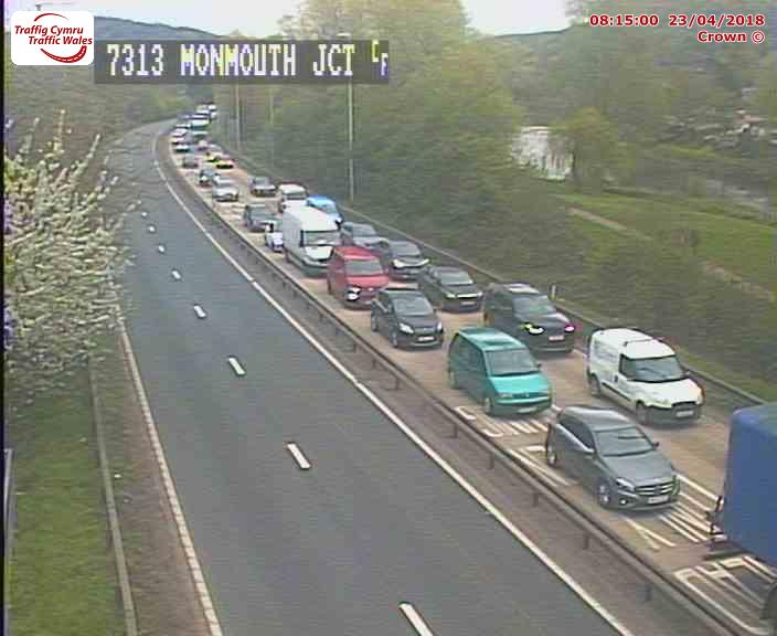 The crash is causing delays on the A40 near Monmouth