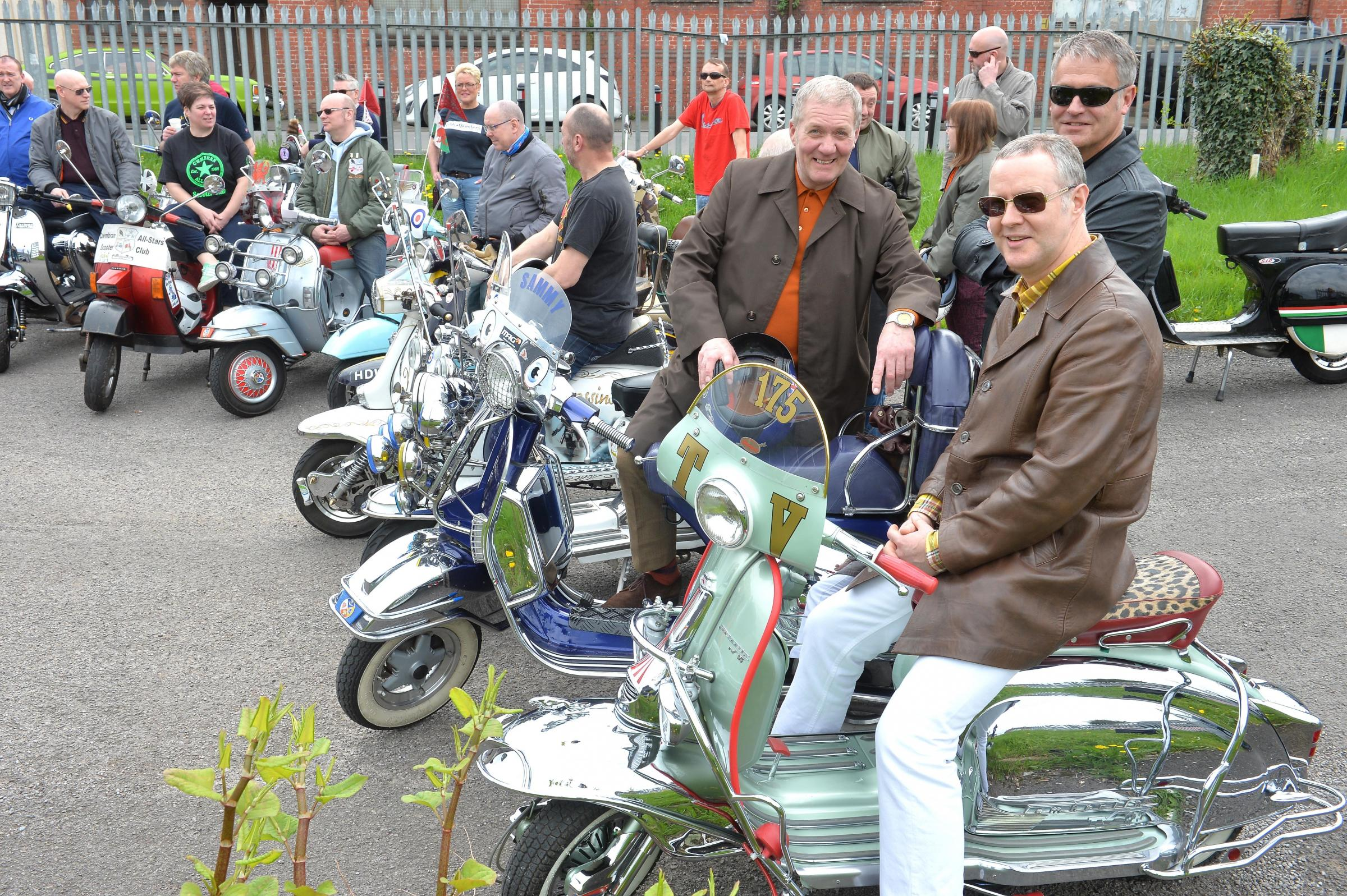 Presentation: Over 100 scooters roared into Newport to watch the presentation of a cheque to charity Newport Mind, and a scooter to raffle winner Nigel Goodall