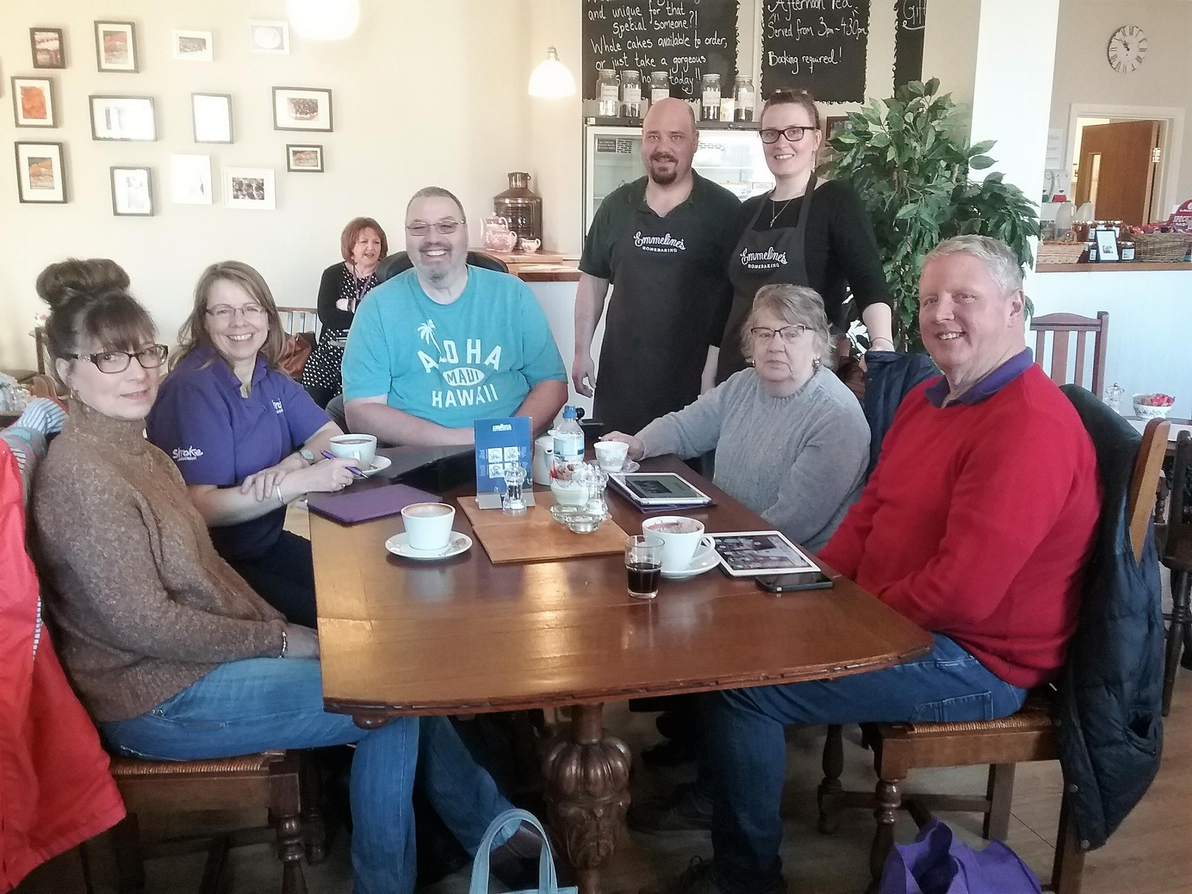 A group meeting at Emmeline Tea Room in Abergavenny helps stroke survivors with aphasia regain their independence with the support of others affected by stroke