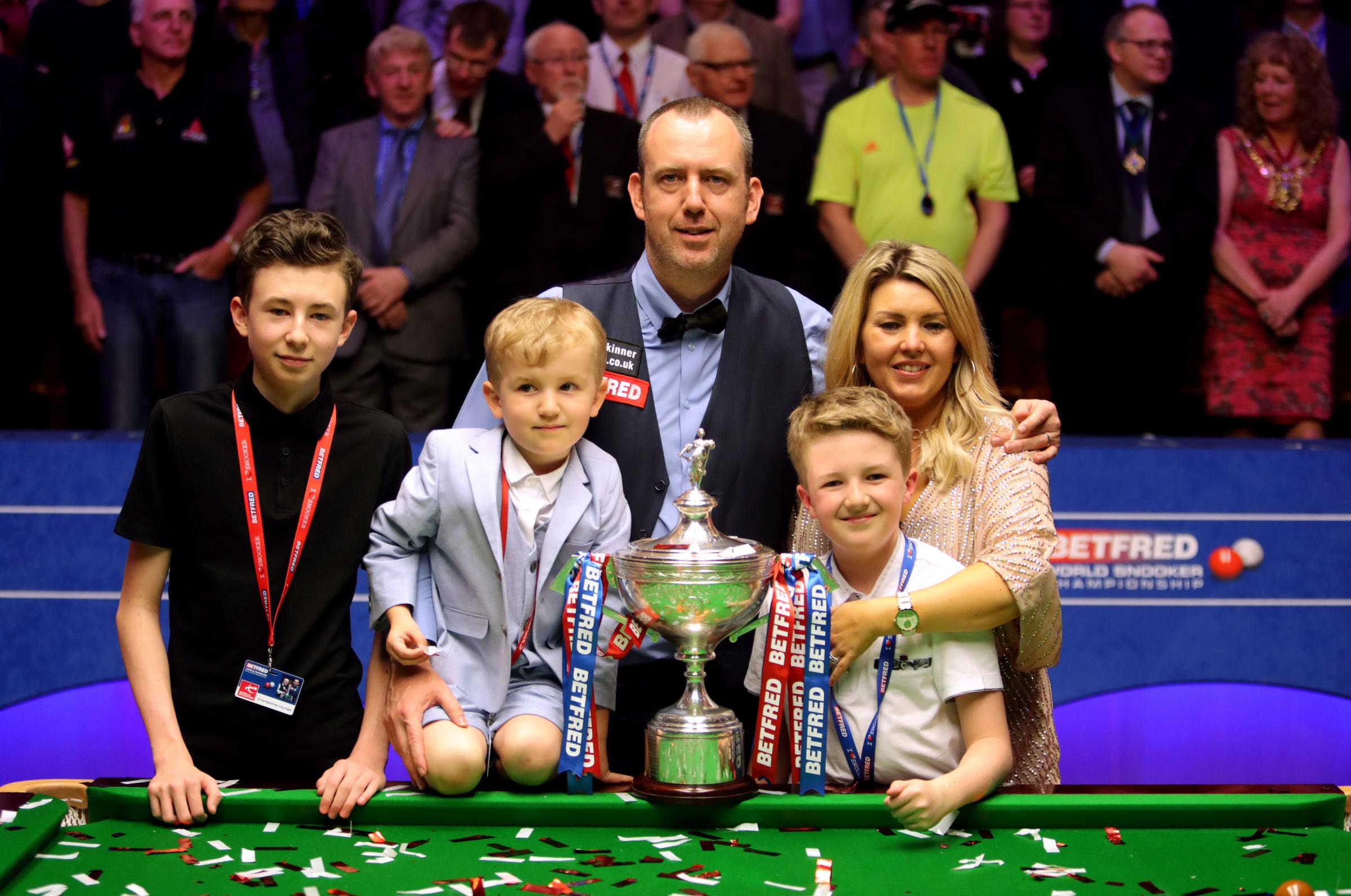 HAPPY BAIZE: Mark Williams and his family celebrate at the Crucible. Picture: Richard Sellers/PA Wire