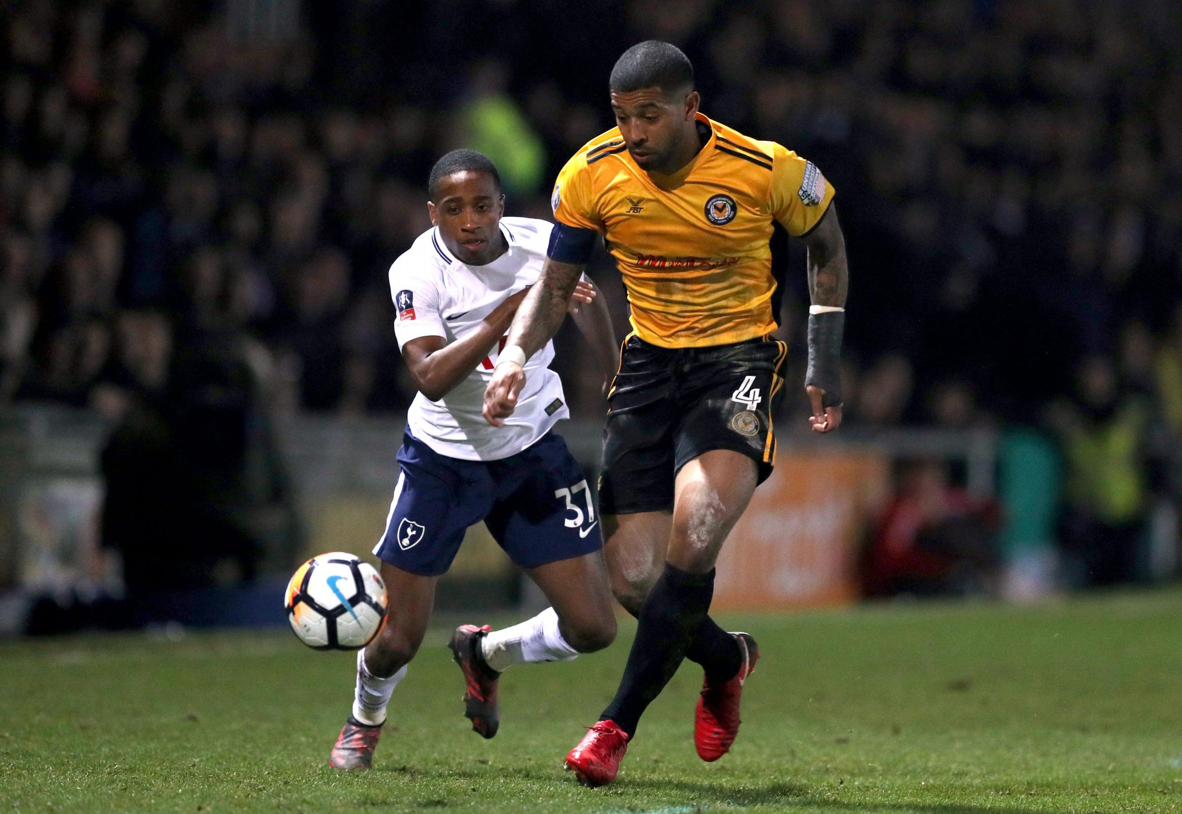 INFLUENTIAL: Newport County captain Joss Labadie in action against Tottenham Hotspur in January's FA Cup fourth-round clash at Rodney Parade