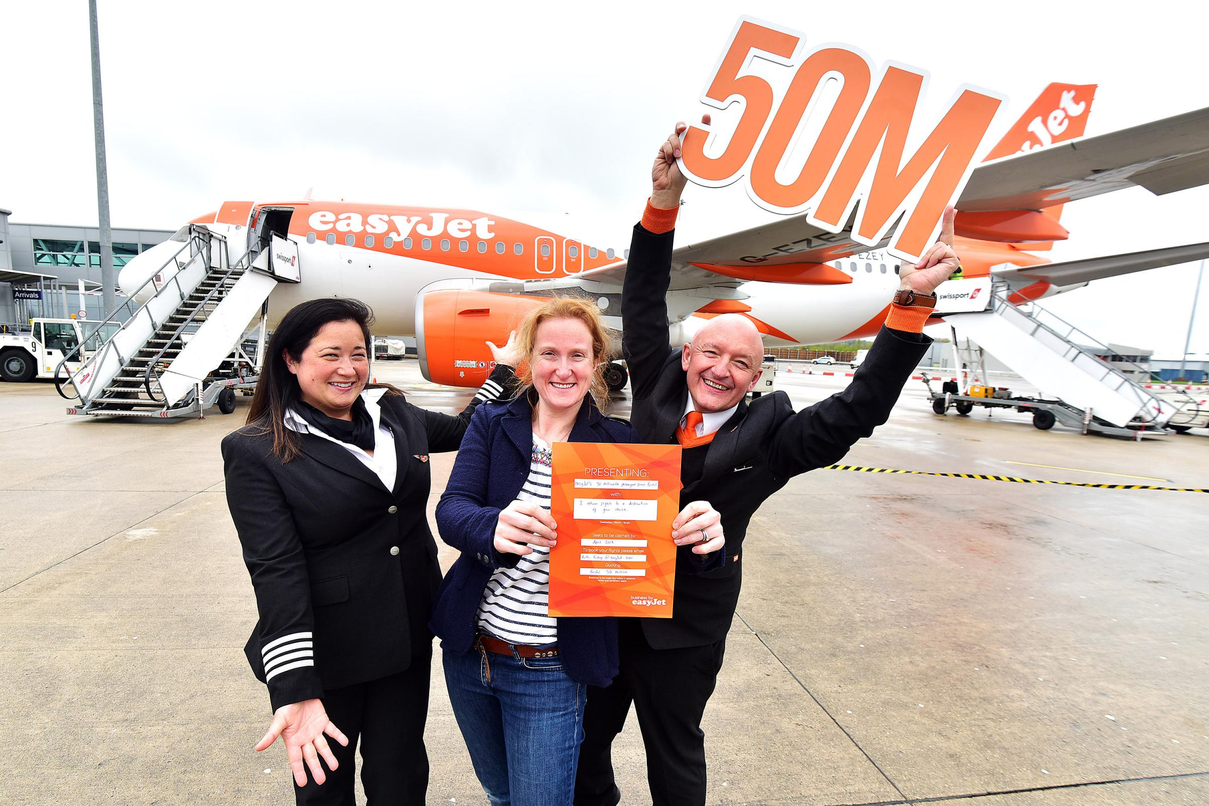 easyJet celebrates carrying 50 million passengers from Bristol Airport