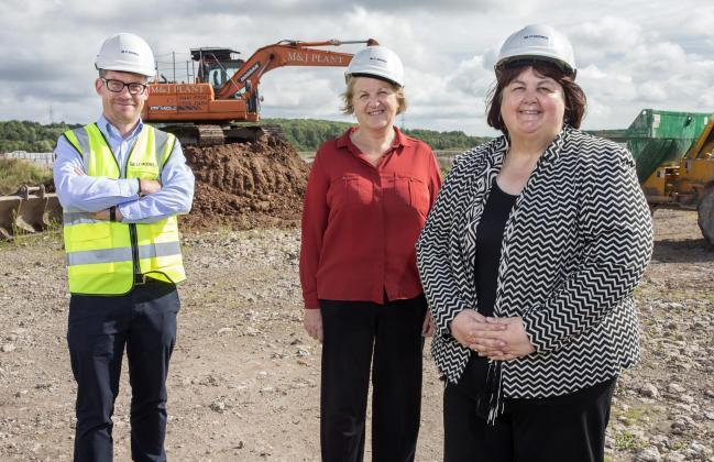 Newport City Council leader Cllr Debbie Wilcox and Cllr Gail Giles, cabinet member for education and skills, pictured at the start of work on the Glan Llyn primary school in September 2017