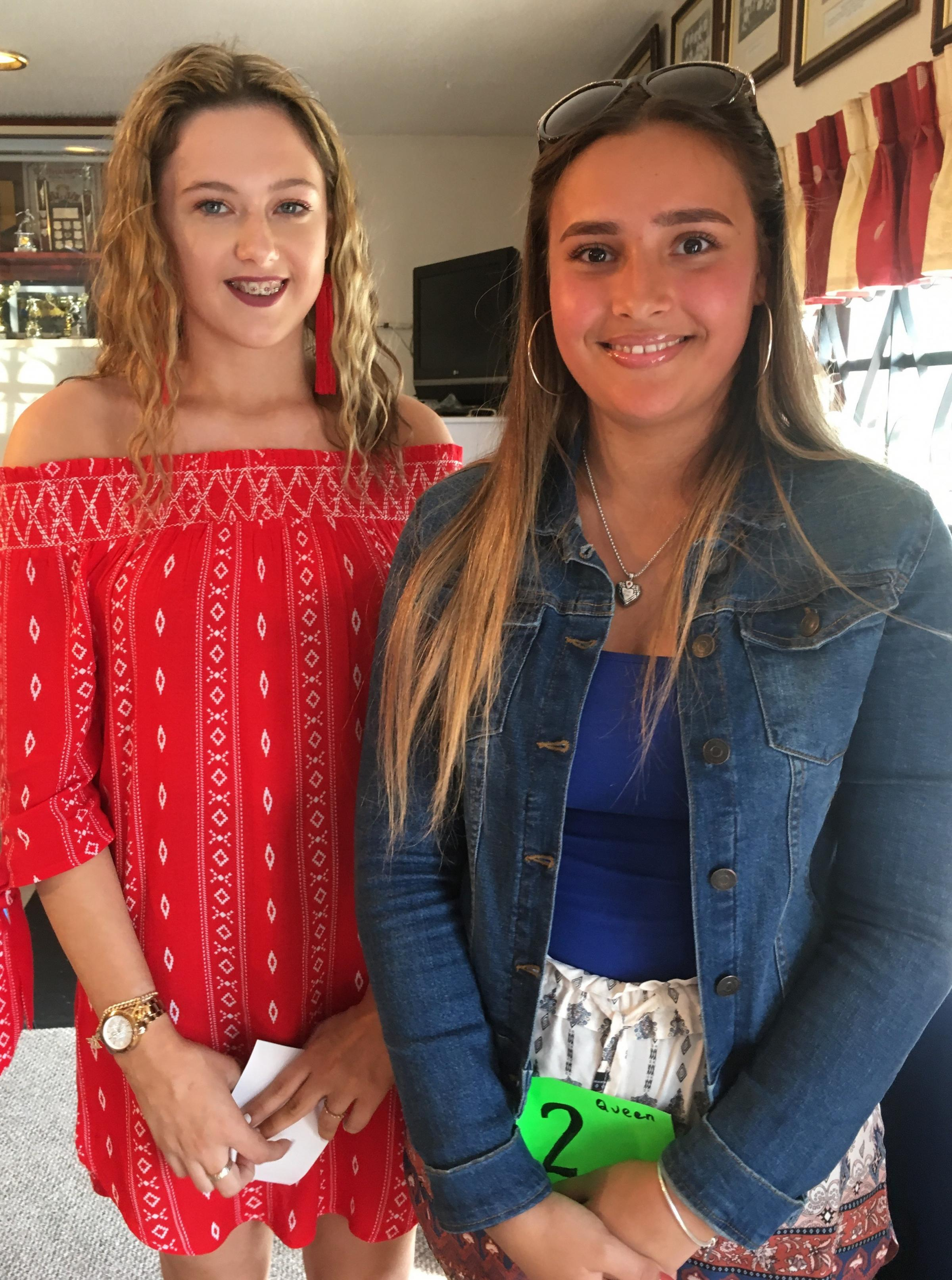 CARNIVAL: Esther Healey (right) Pill Carnival Queen 2018, with runner-up Connie Sefton.