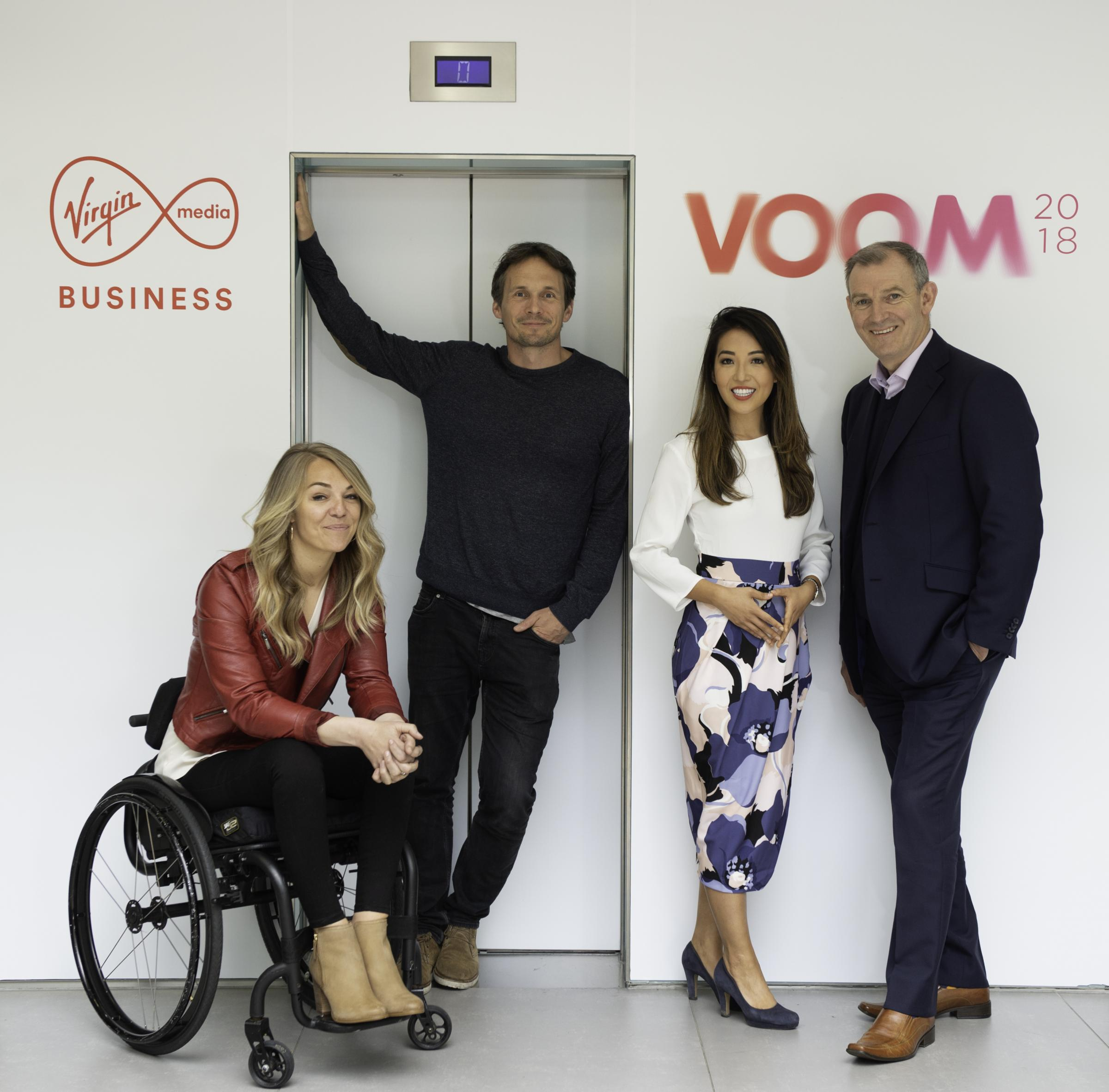 Virgin Media Business Voom 2018 JudgesL-R: Sophie Morgan, C4 Paralympic presenter & entrepreneurRichard Reed, Co-founder Innocent Drinks & Partner JamJar InvestmentsSusie Ma, Founder Tropic Skincare (Apprentice Finalist 2011)And Peter Kelly,