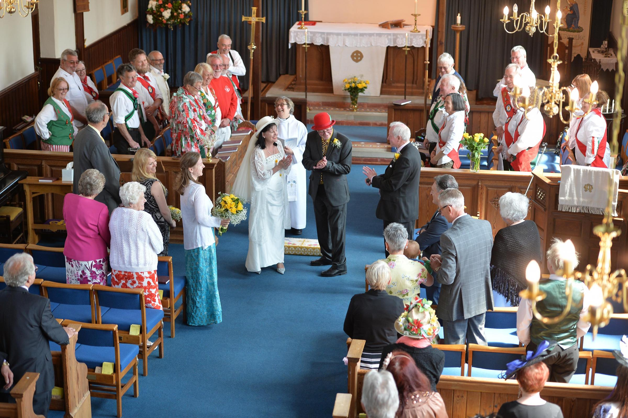 WEDDING: Inside St Mary's Church in Croesyceiliog.