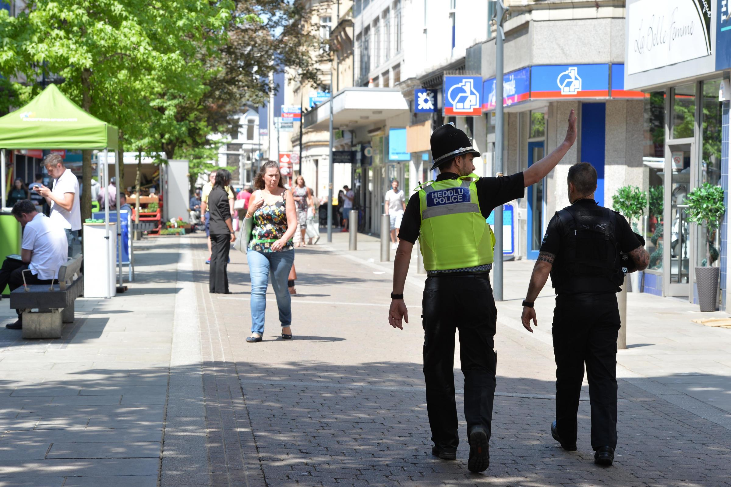 PATROLS: Police officers in Newport City centre this week