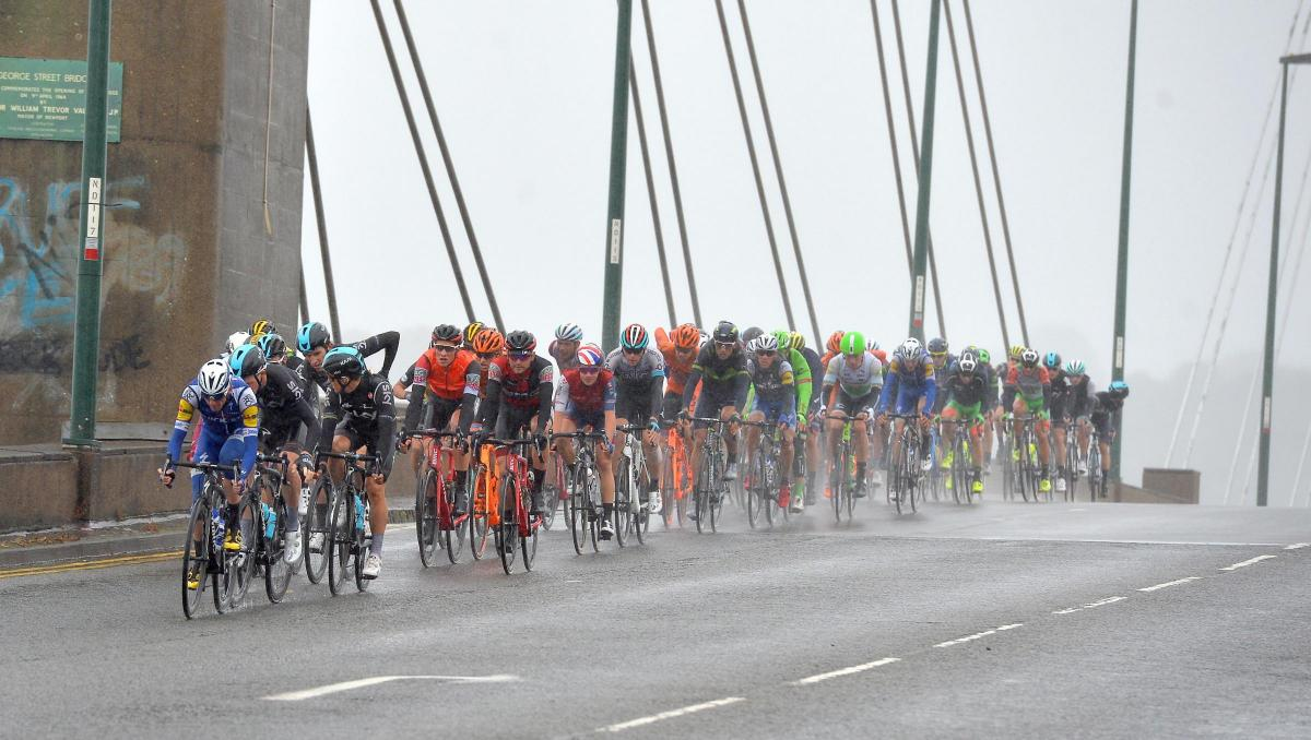The Tour of Britain passes over George Street Bridge in Newport last year