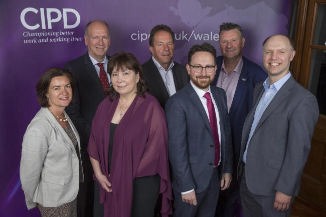 Front row: Baroness Eluned Morgan AM, Lesley Richards, head of CIPD Wales, Hefin David AM, Gerwyn Davies, public policy advisor at CIPD. Back row: David Rees, AM for Aberavon, Peter Cheese, chief executive of CIPD, Dr John McGurk, head of regional policy