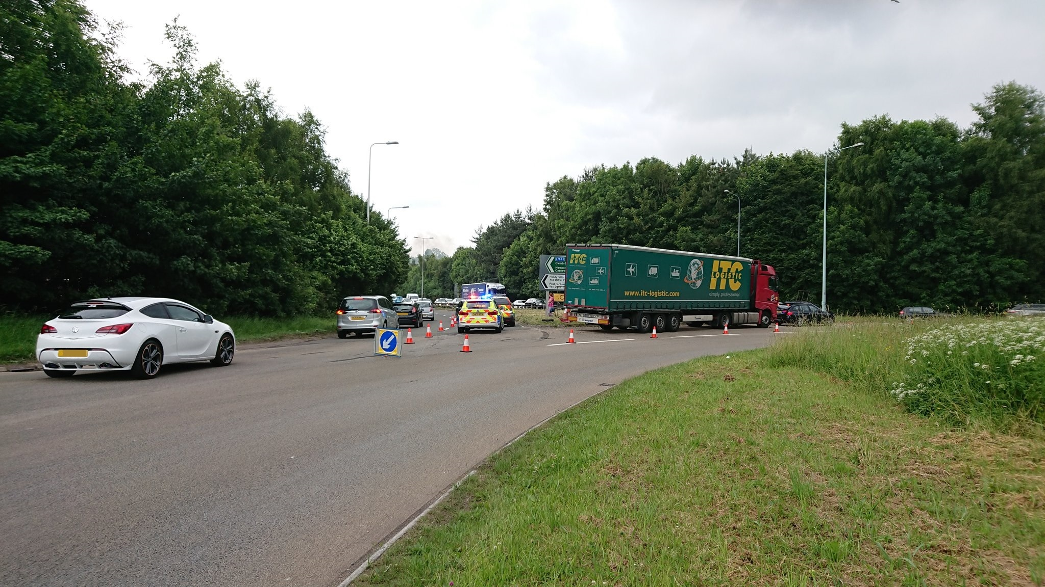 There was disruption on the A4042 following an accident