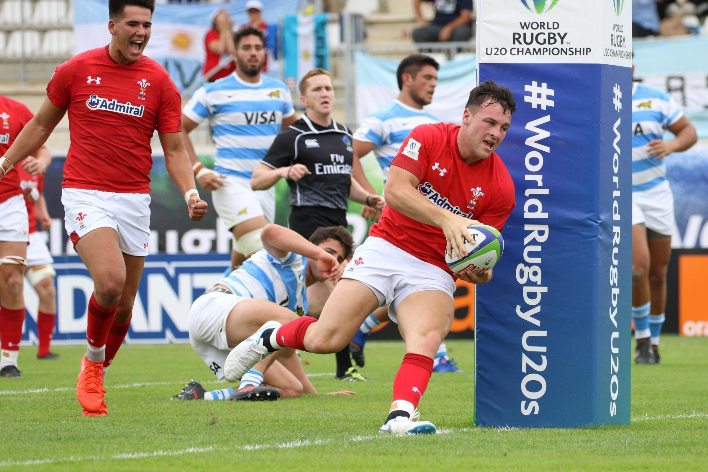 TRY TIME: Ryan Conbeer crosses but Wales lost heavily to Argentina