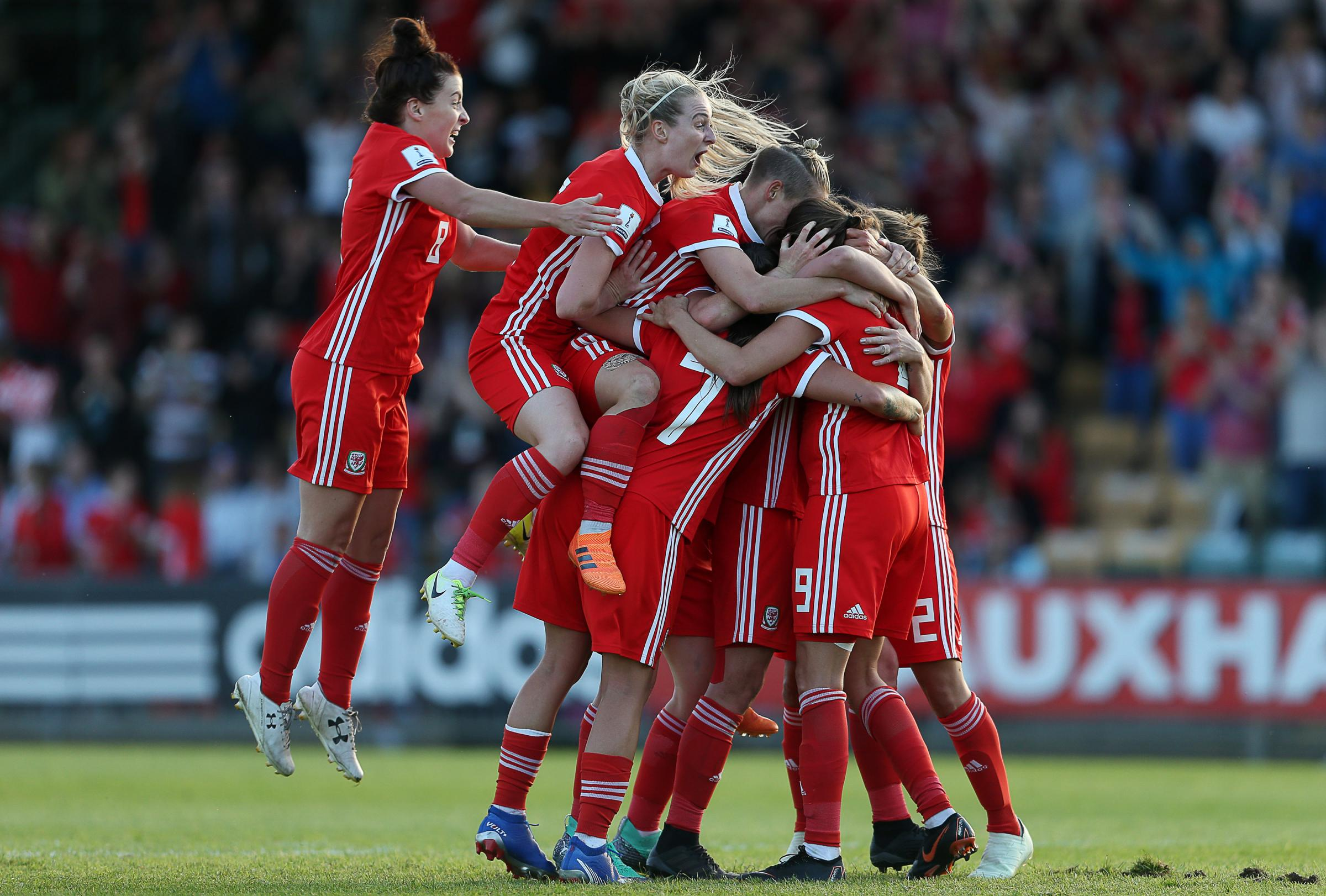 Wales Women's Kayleigh Green celebrates scoring her second goal against Russia at Spytty Park with teammates. Picture: Huw Evans Agency