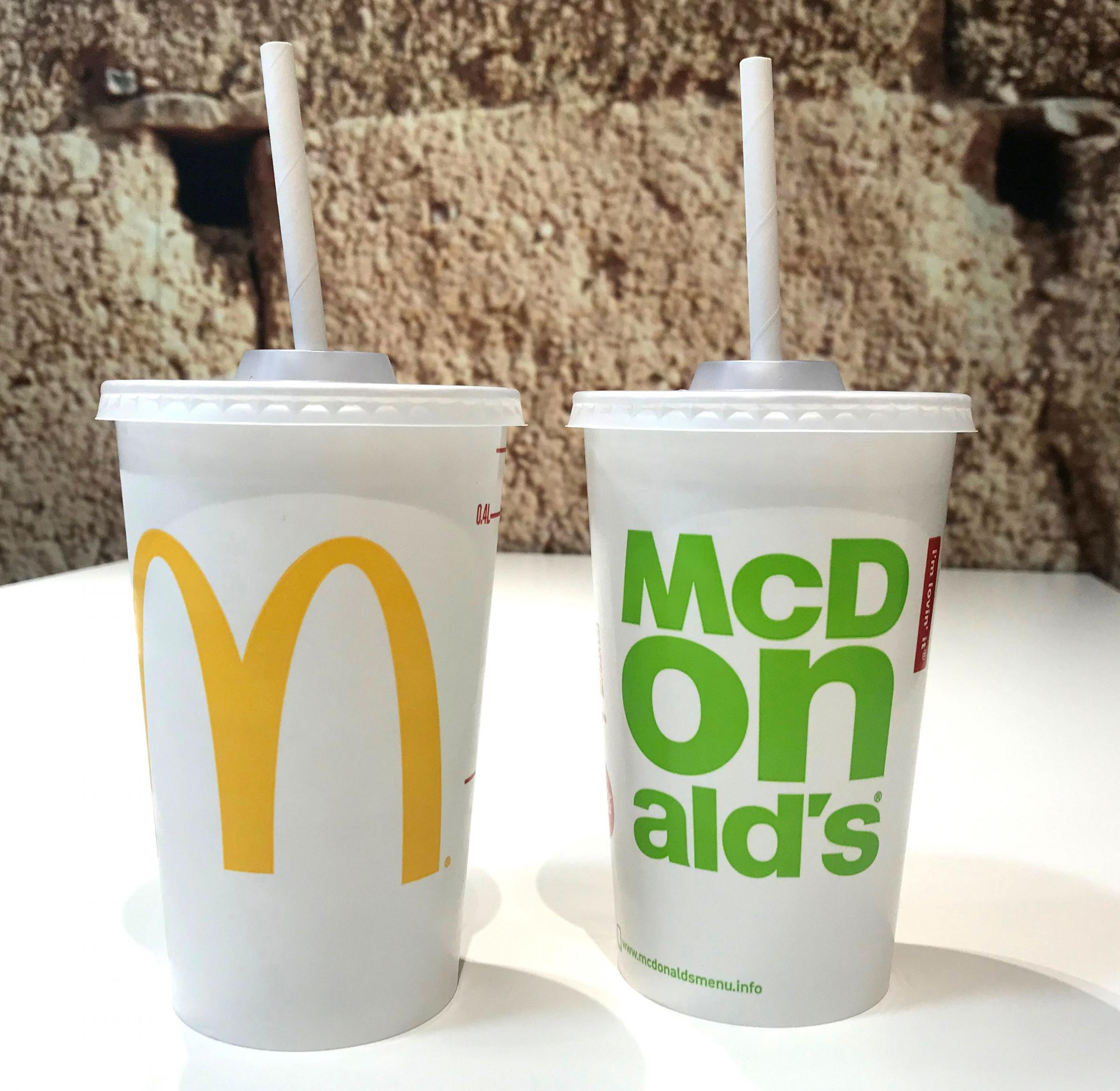 Undated handout photo issued by McDonald's of the new paper straws which are replacing the existing plastic straws across all its UK and Ireland restaurants after a successful trial. PRESS ASSOCIATION Photo. Issue date: Friday June 15, 2018. A roll-ou
