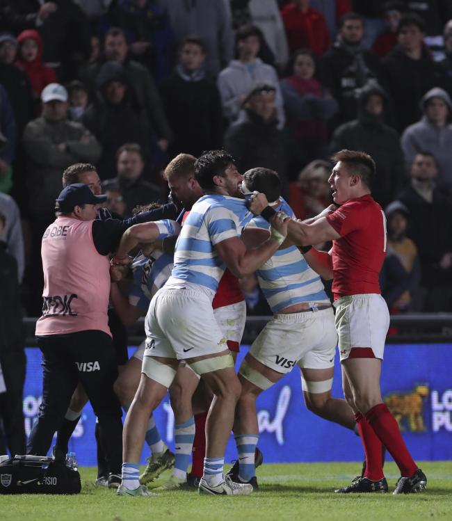FLASHPOINT: The scuffle that led to Wales number eight Ross Moriarty being red-carded in Argentina (AP Photo/Nicolas Aguilera).