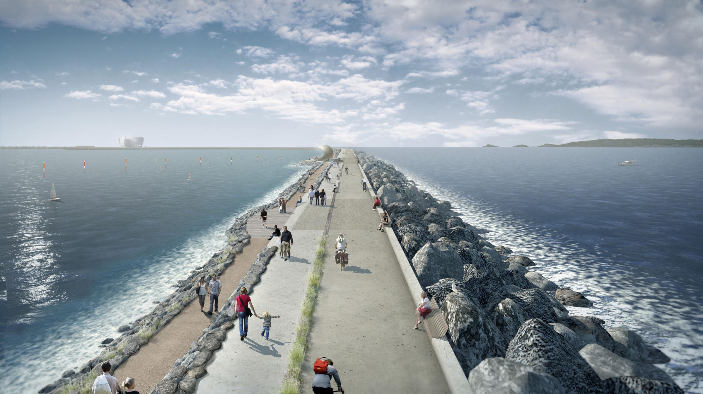 "Undated file handout artist's impression issued by Tidal Lagoon Power of a visualisation of a six-mile sea-wall with turbines to generate low-carbon electricity at Swansea Bay, South Wales. The Government has refused to back a ""Swansea Tidal Lago"